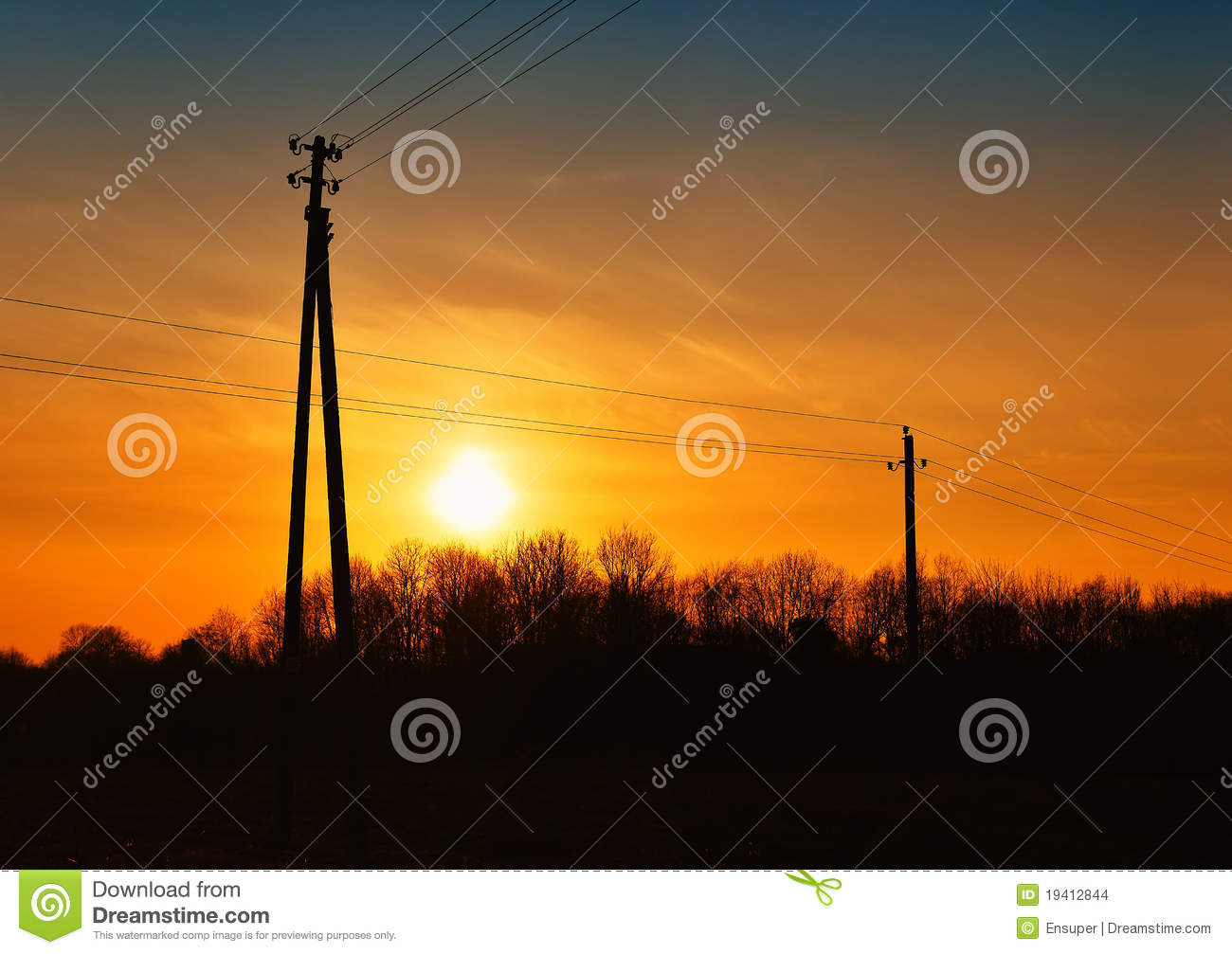 Sunset With High Voltage Power Lines Stock Images - Image ...