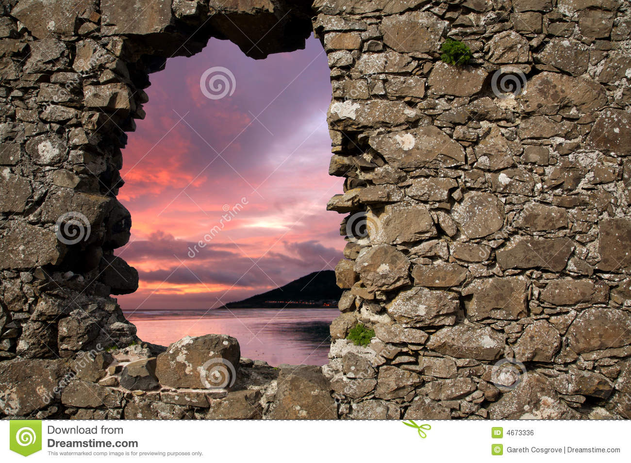 Sunset through hole in a wall