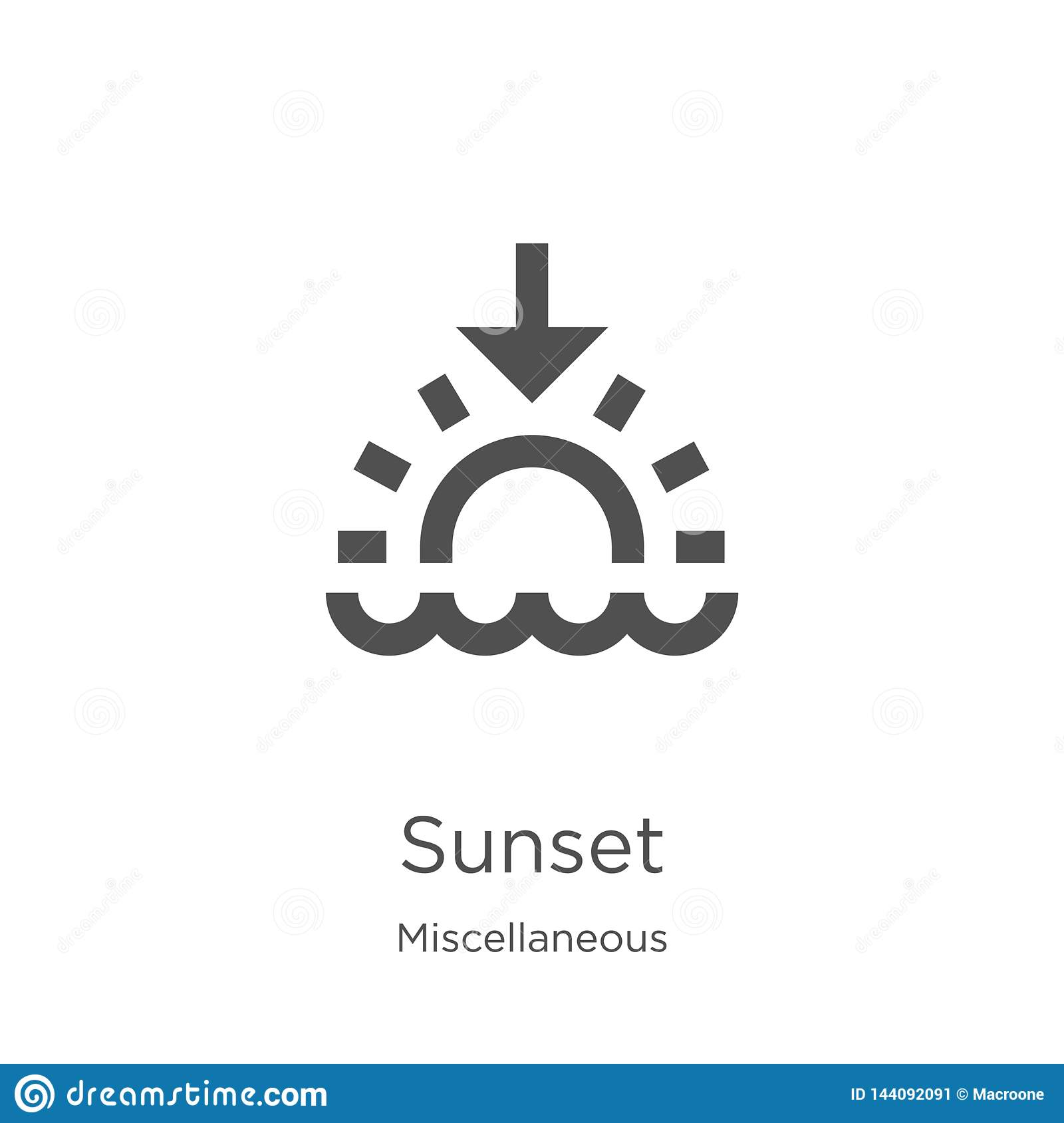 sunset icon vector from miscellaneous collection thin line sunset outline icon vector illustration outline thin line sunset stock vector illustration of abstract sign 144092091 dreamstime com