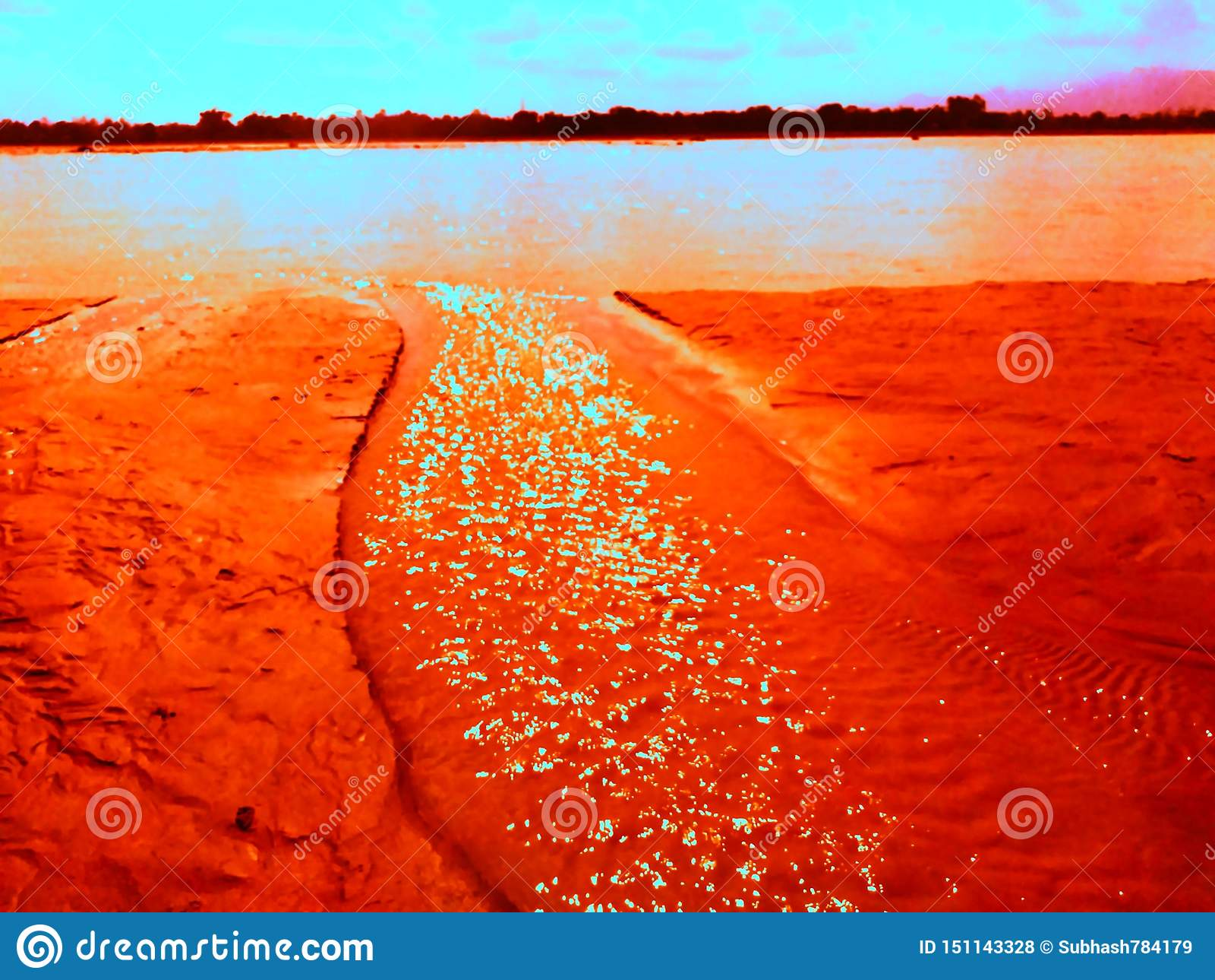 Beautiful Sunset Lack Wallpaper Picture Stock Illustration