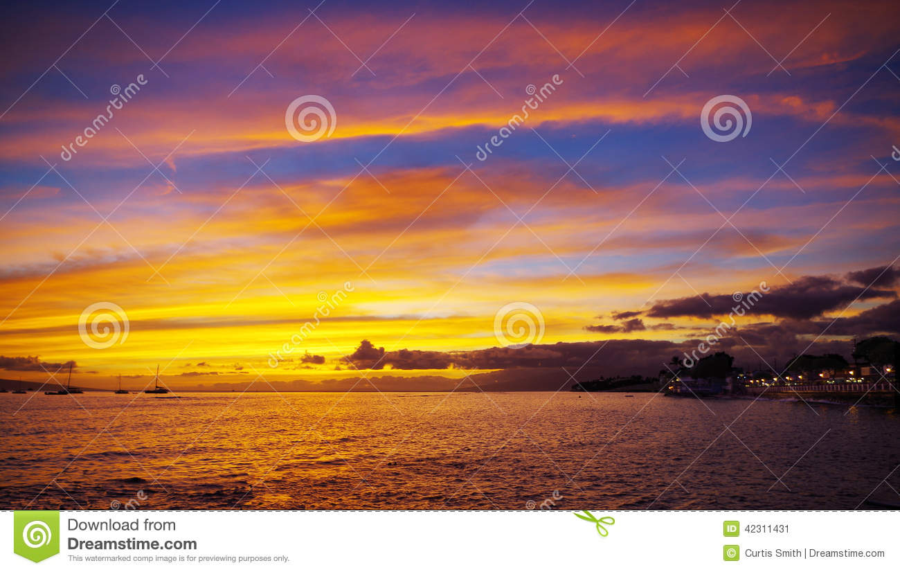 Colorful Sunset in Lahaina town, Maui, Hawaii