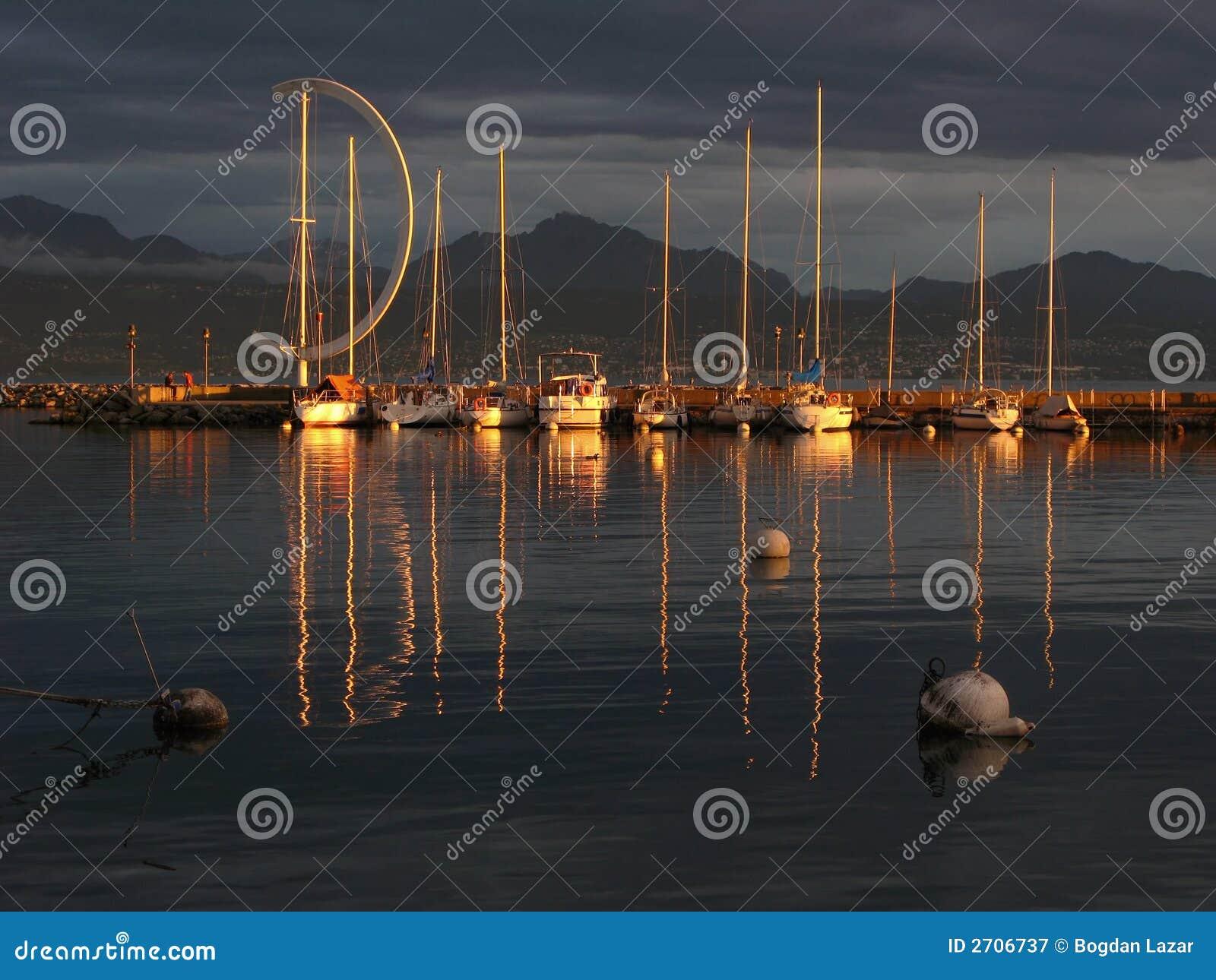 Sunset on Lake Geneva in Lausanne, Switzerland