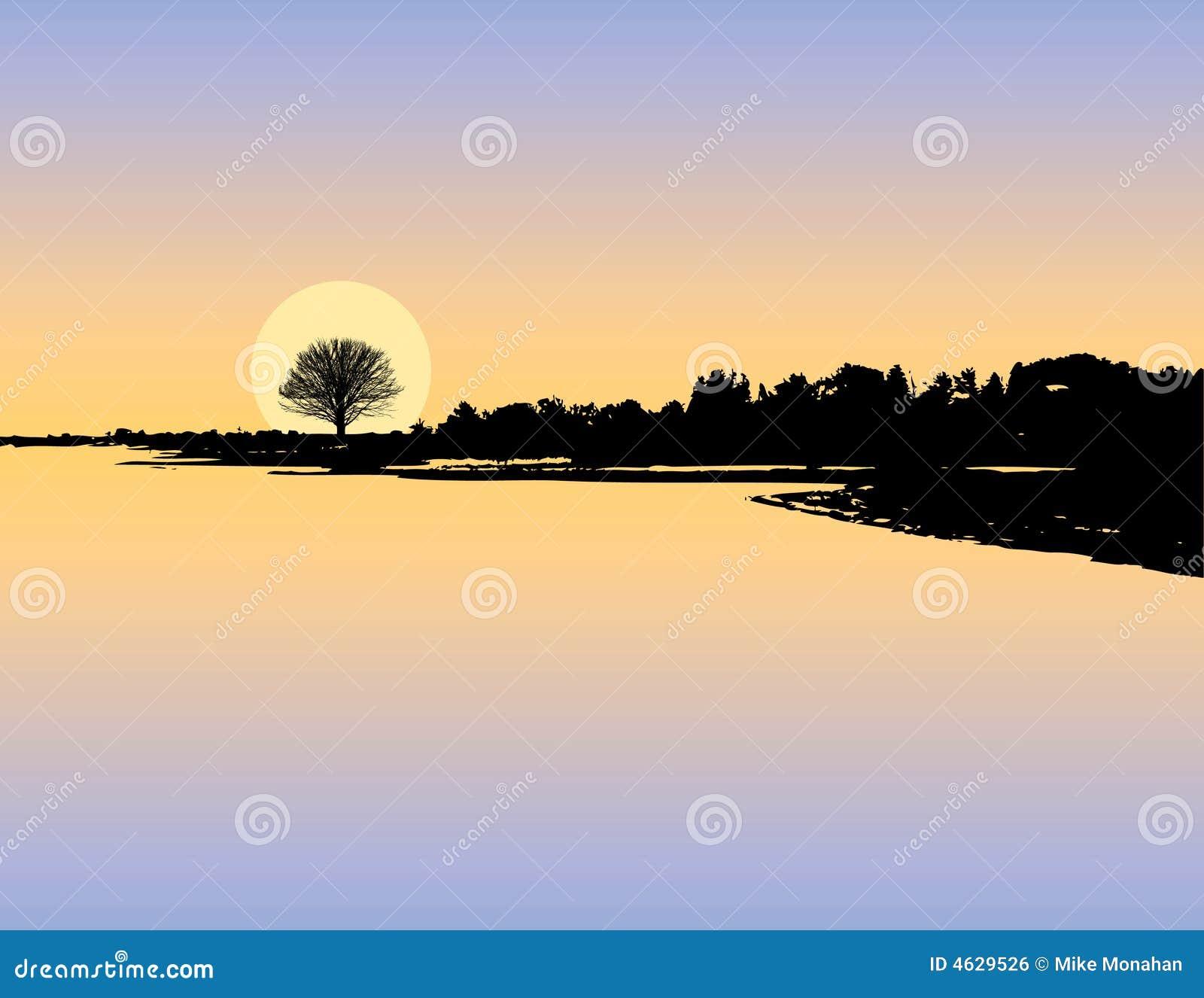 Sunset Lake Silhouette Royalty Free Stock Image - Image ...