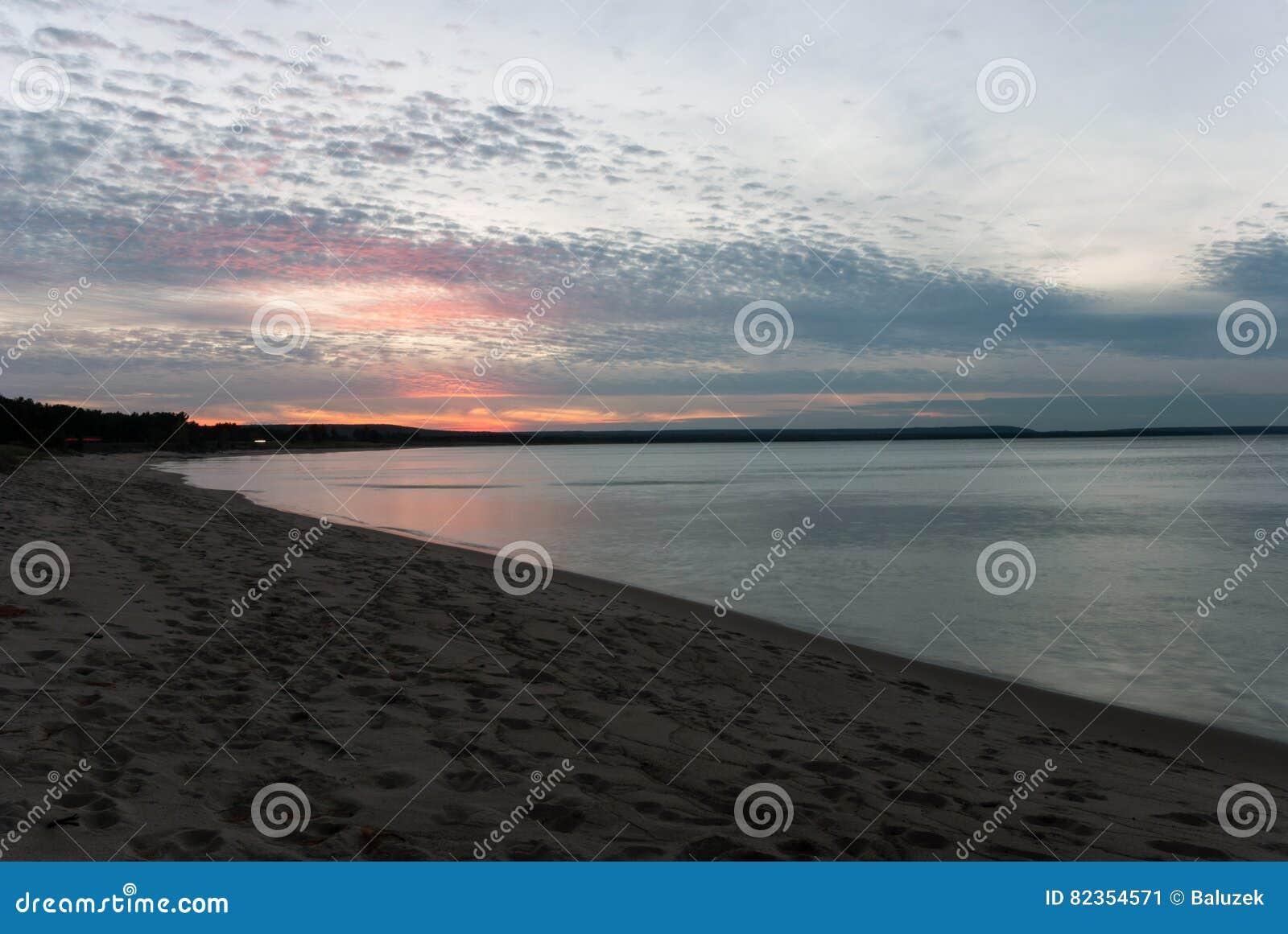 Michigan alger county munising - Sunset On Lake Superior Munising Michigan Stock Photo