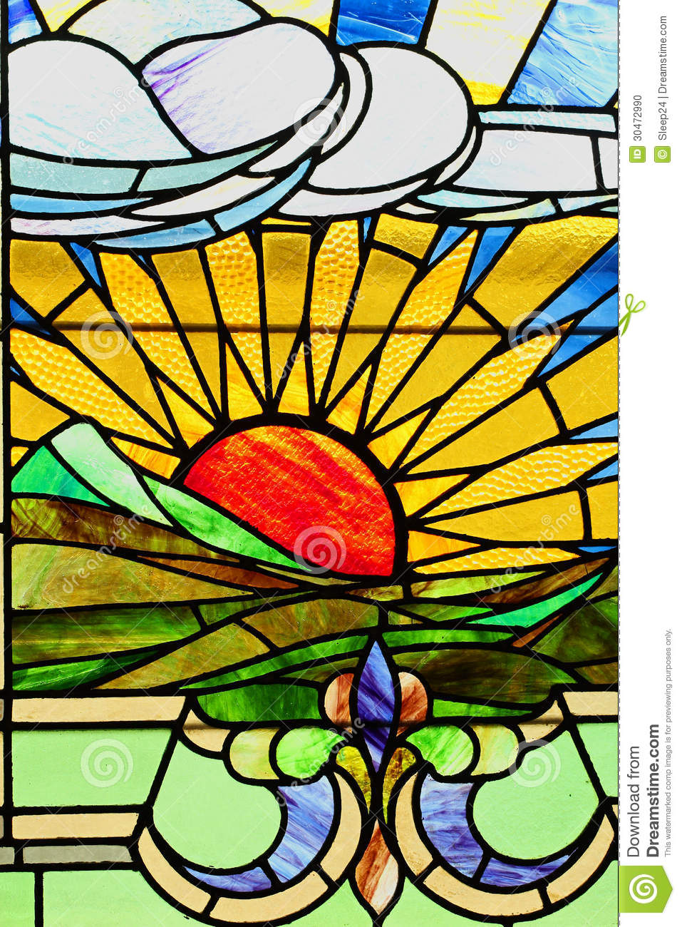 Sunset Landscape In Stained Glass Stock Illustration