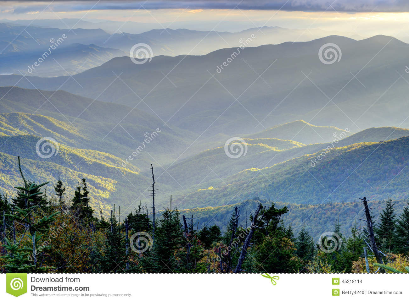 Sunset of layers from Clingman s Dome in the Smoky Mountains.