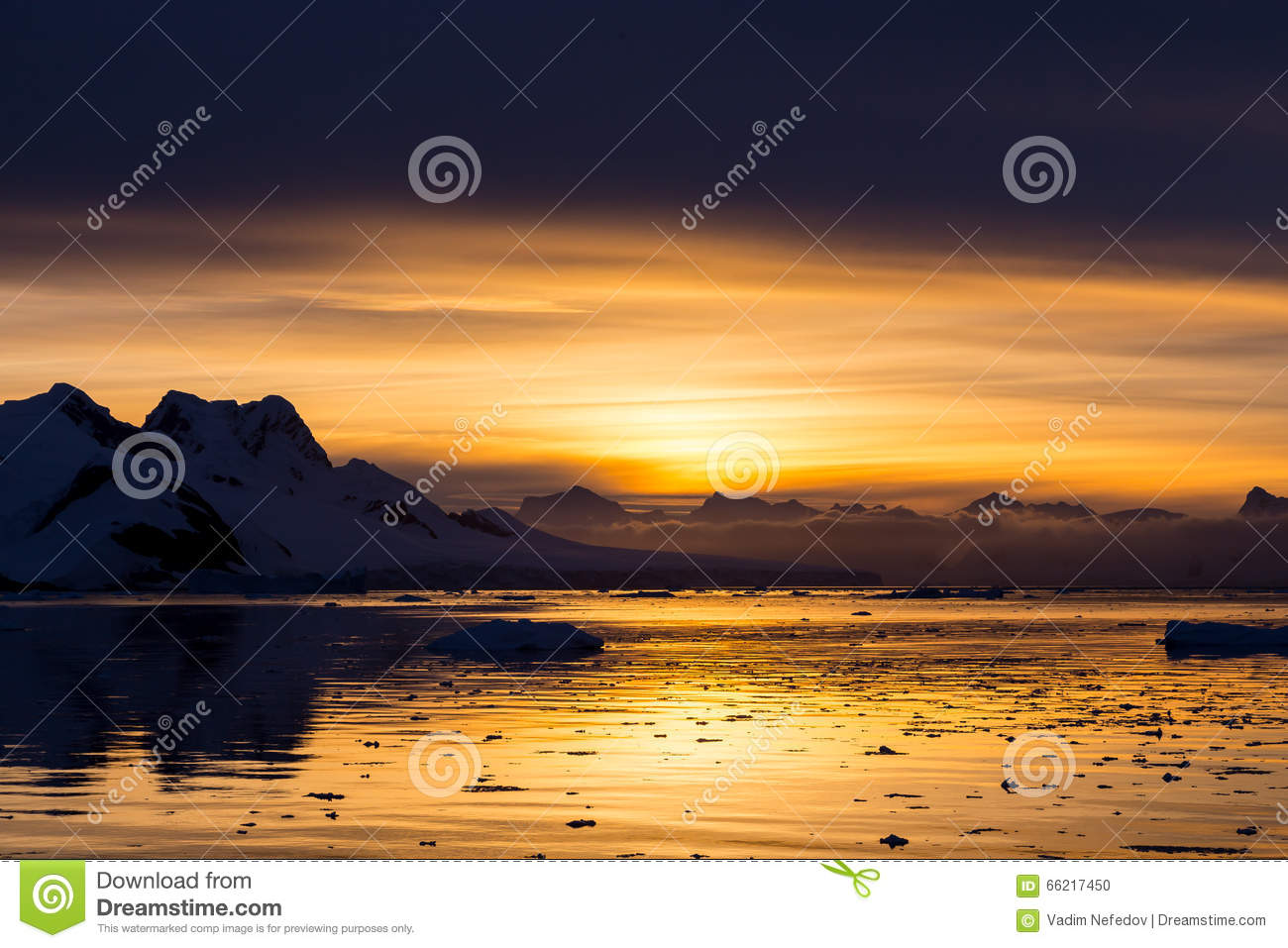 Sunset At Lemaire Channel, Antarctica Stock Photo - Image: 66217450