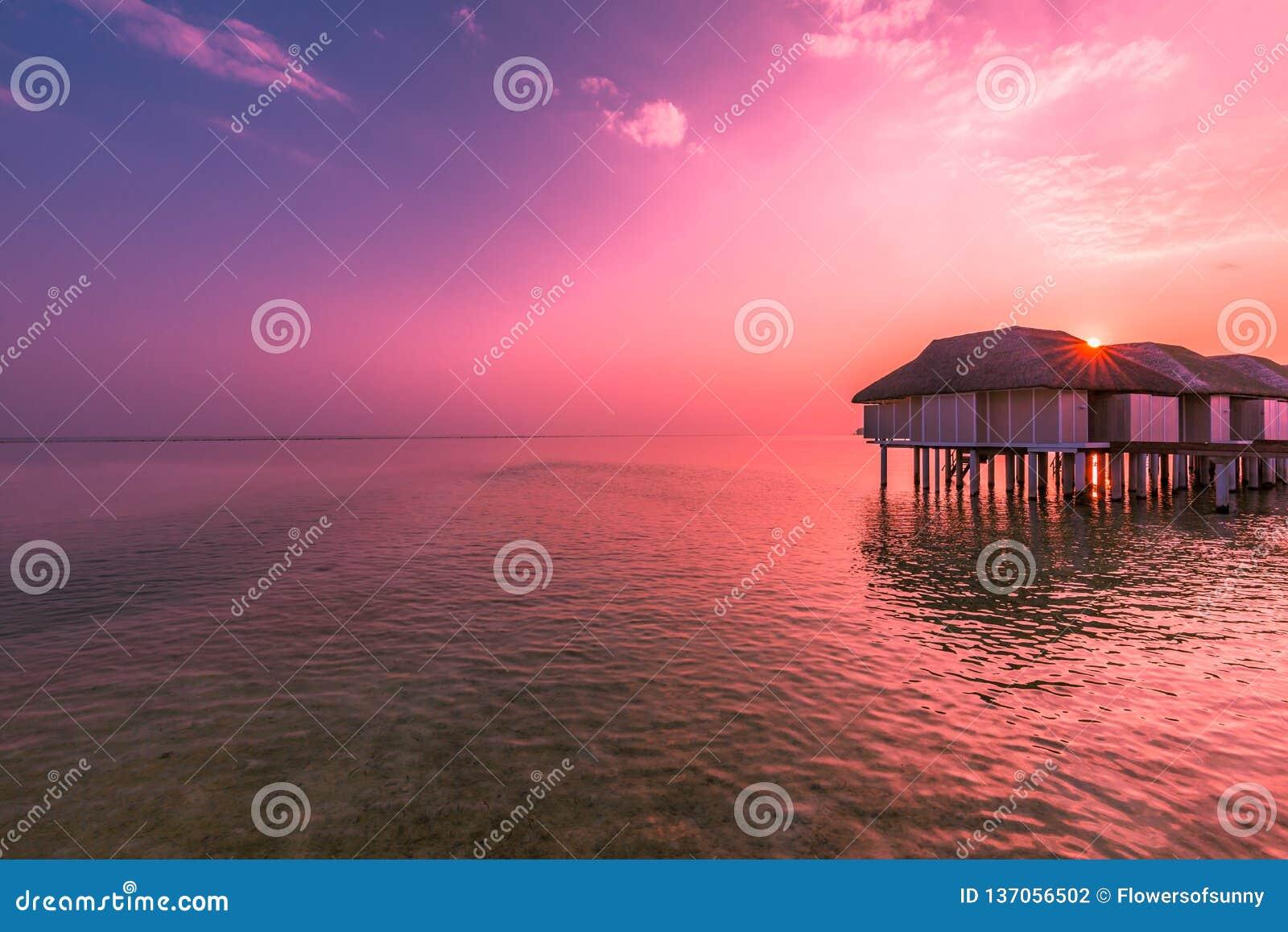 Colorful Sunset Over Ocean On Maldives Maldives Island