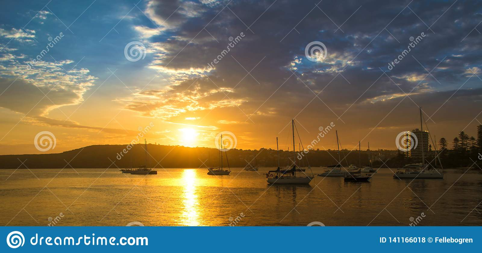 Sunset in the harbour of Manly