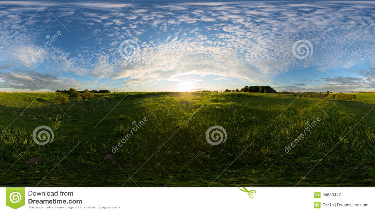 Sunset On Meadow Spherical 360 Degree Panorama Stock Image