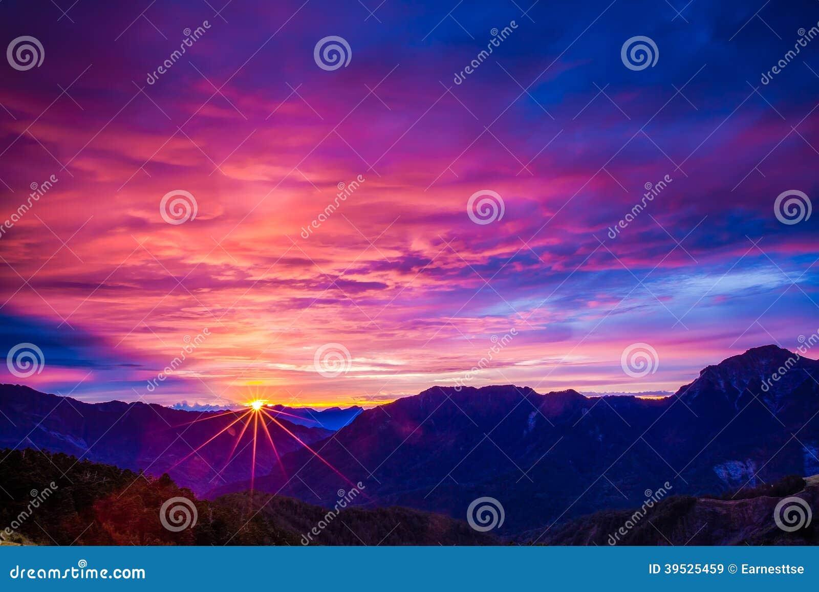 Download Sunset mountain landscape stock image. Image of sunlight - 39525459