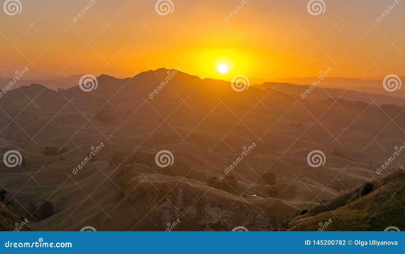 Sunset in the mountain near Waikaremoana New Zealand