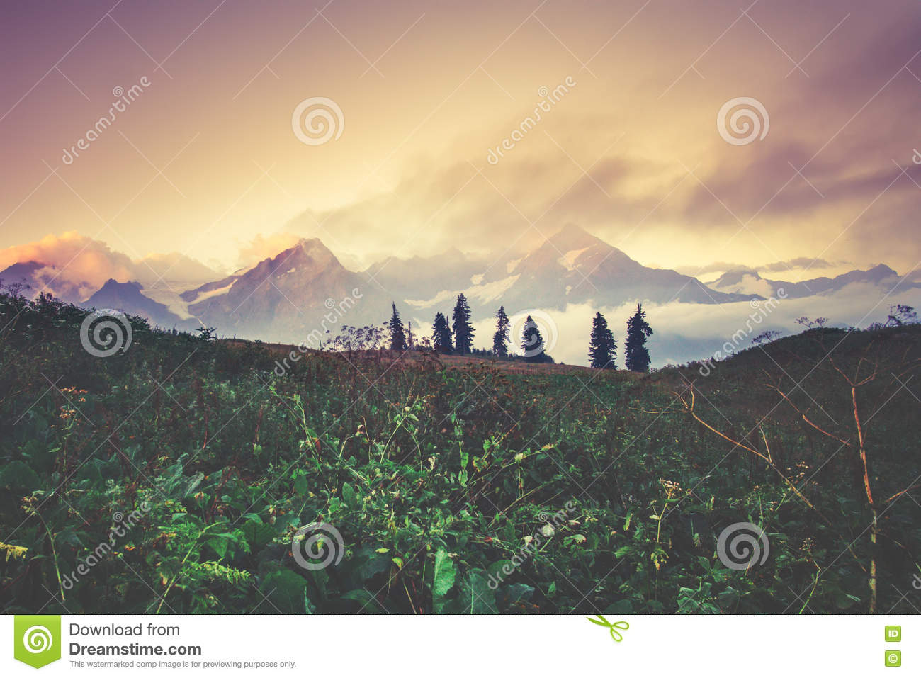 Sunset Mountains Landscape Travel Serene Scenic View Stock ...