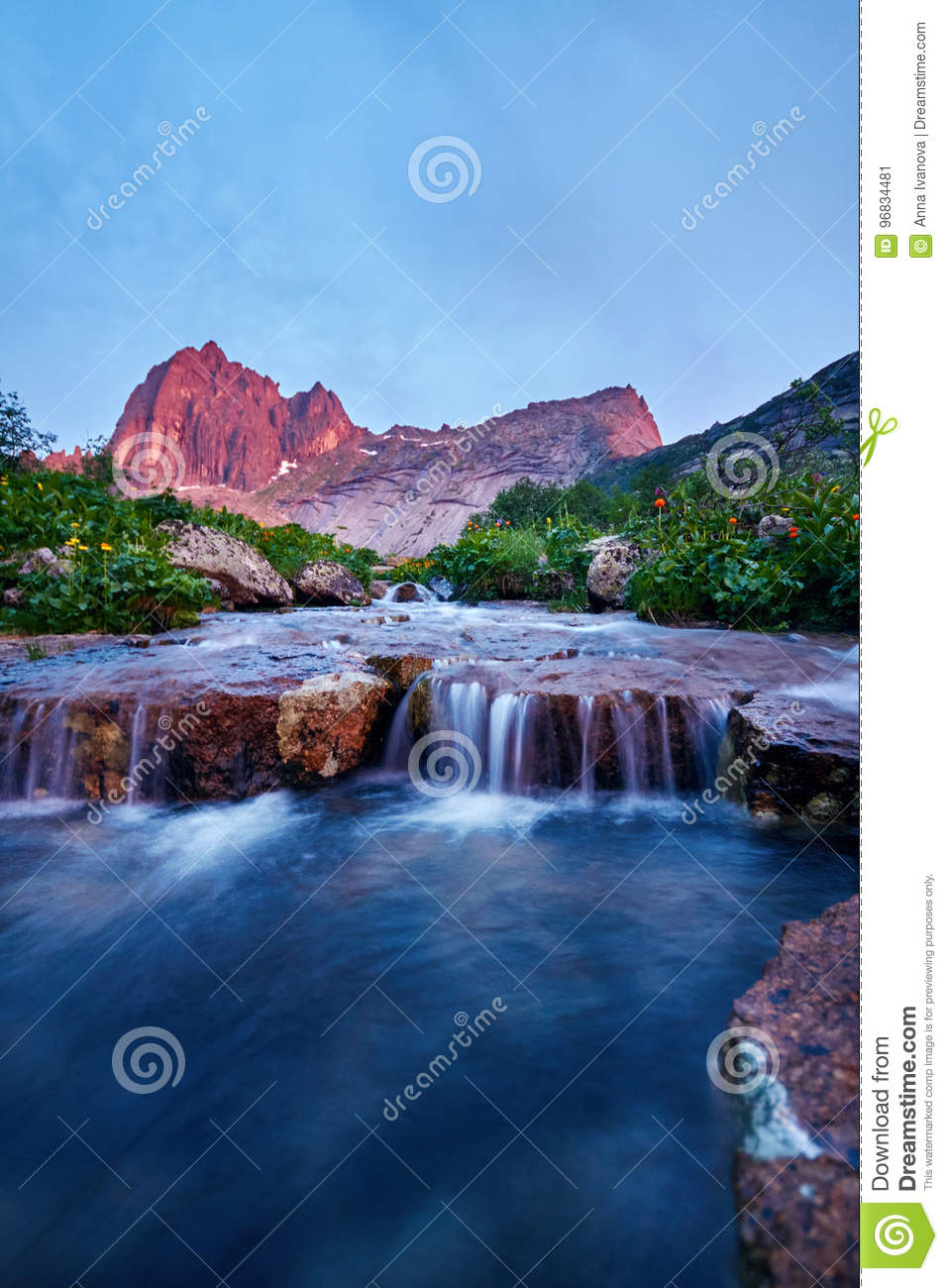 Sunset In Mountains Near River. Sunlight Reflected On ...