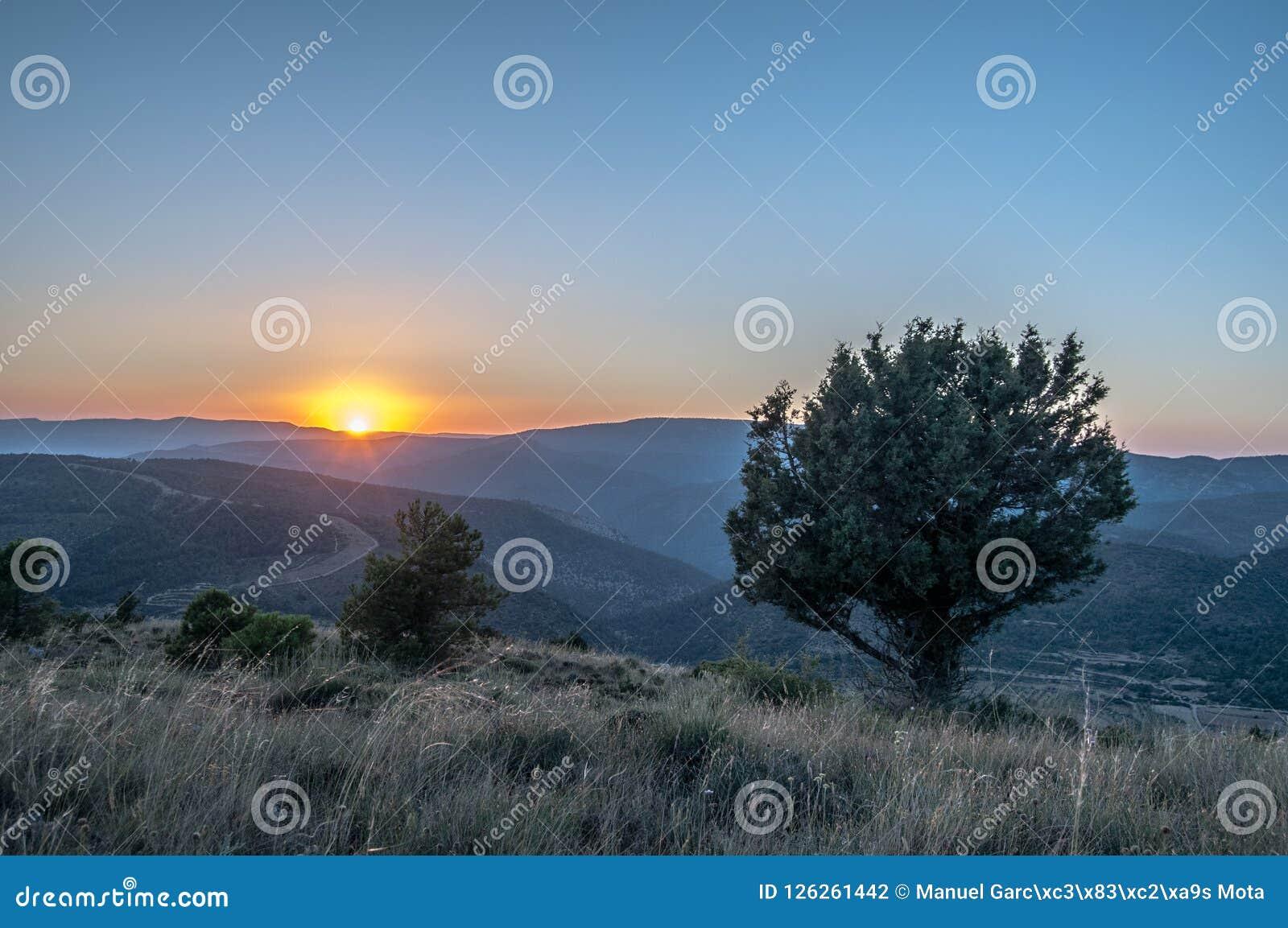 Sunset Between Mountains Stock Photo Image Of Beautiful 126261442