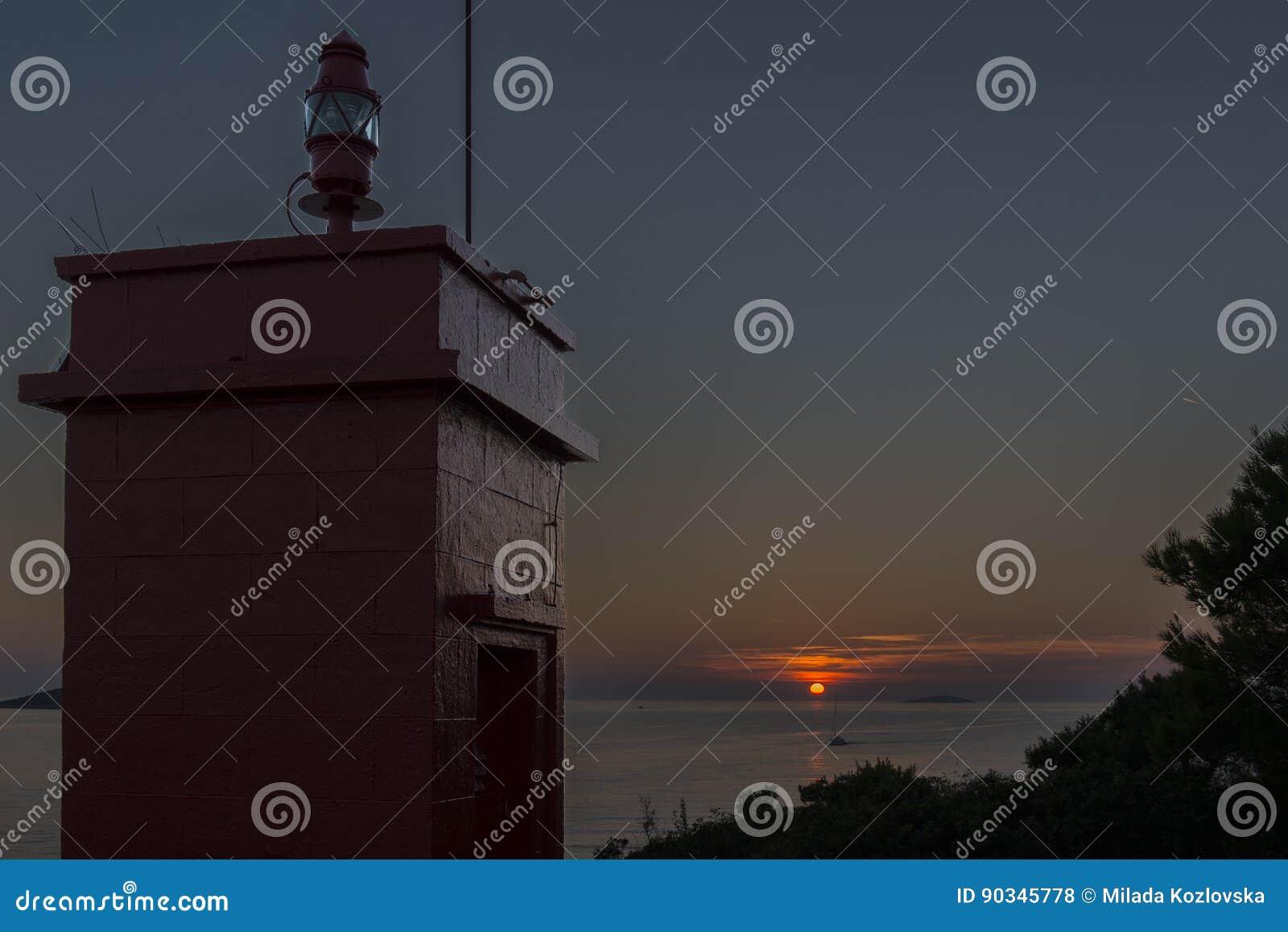 Sunset near lighthouse in Rogoznica, Croatia