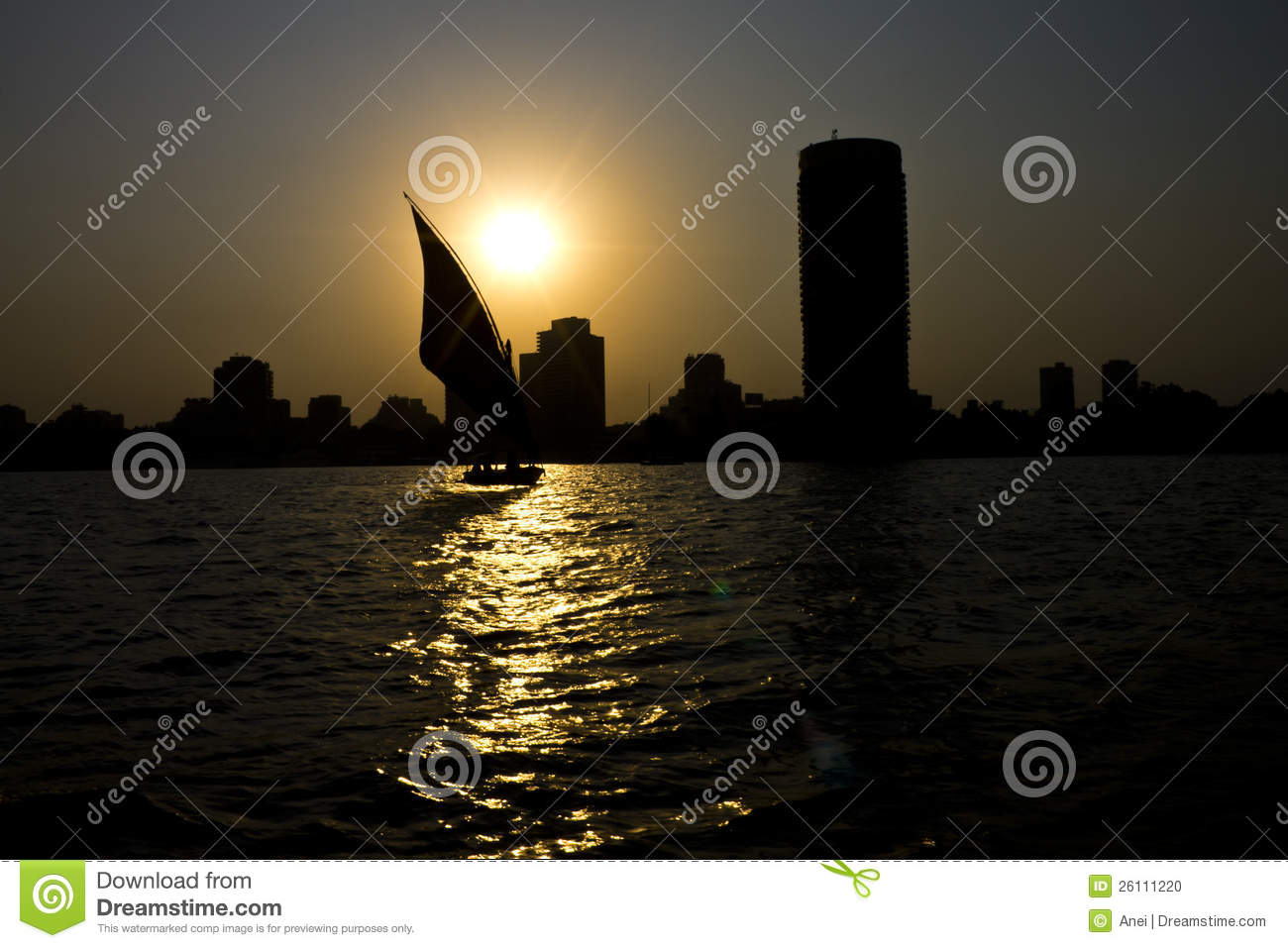 Sunset On The Nile In Cairo Stock Photo - Image of capitol, sunset