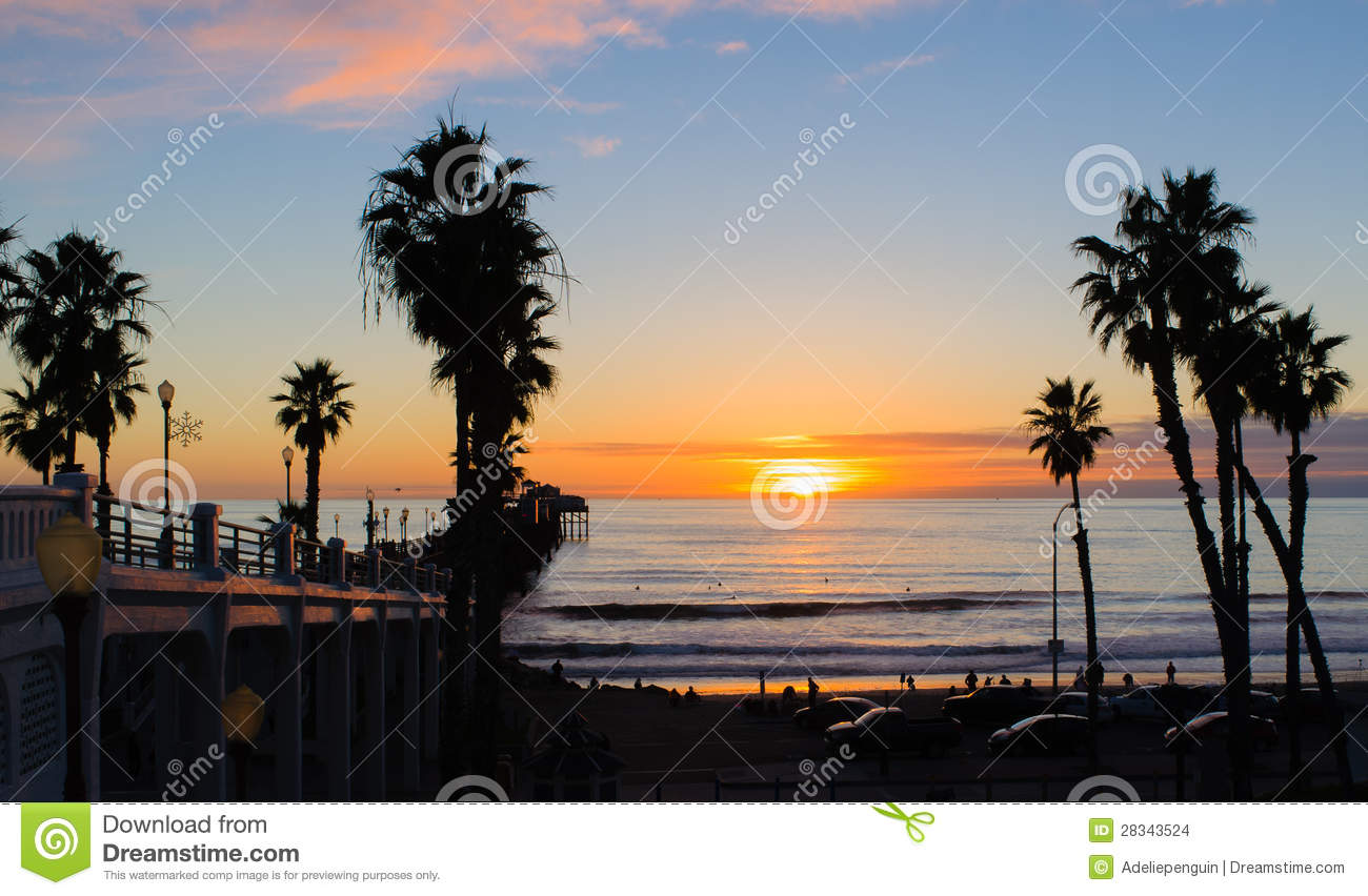 Download Sunset, Oceanside Beach, California Stock Photo - Image of north, seaside: 28343524