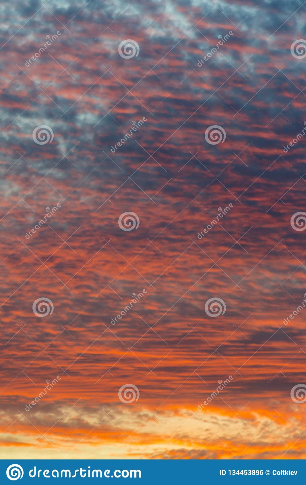 sunset with orange sky. Hot bright vibrant orange and yellow colors sunset sky. sunset with clouds. vertical photo