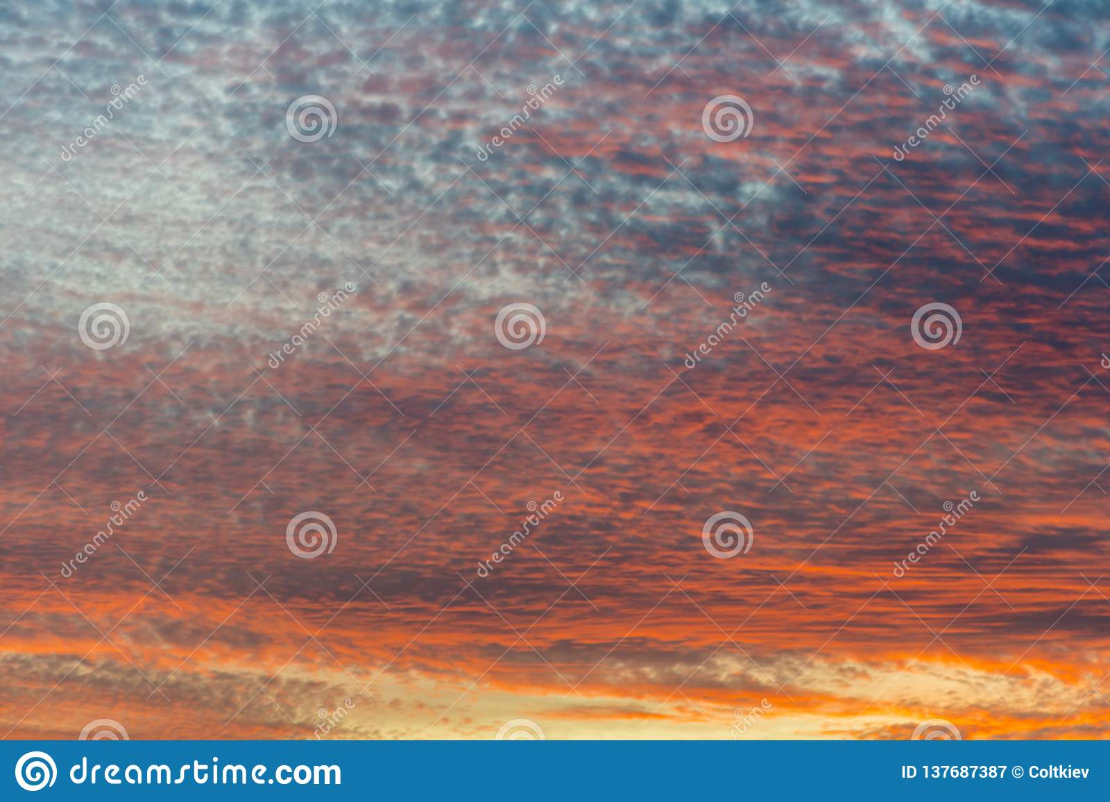sunset with orange sky. Hot bright vibrant orange and yellow colors sunset sky. sunset with clouds