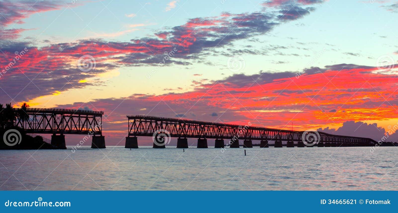sunset over bridge in florida keys  bahia honda st stock image