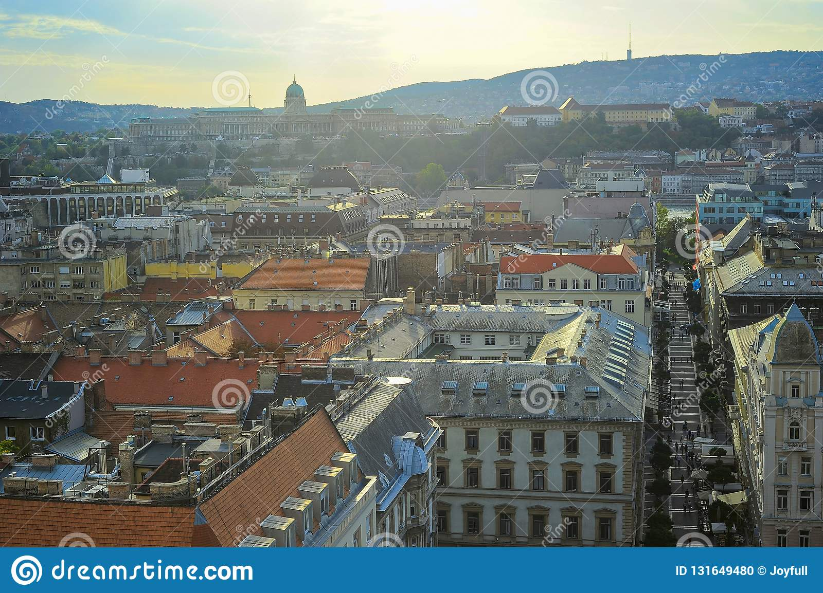 Sunset Over Budapest Cityscape, Aerial View Of ...