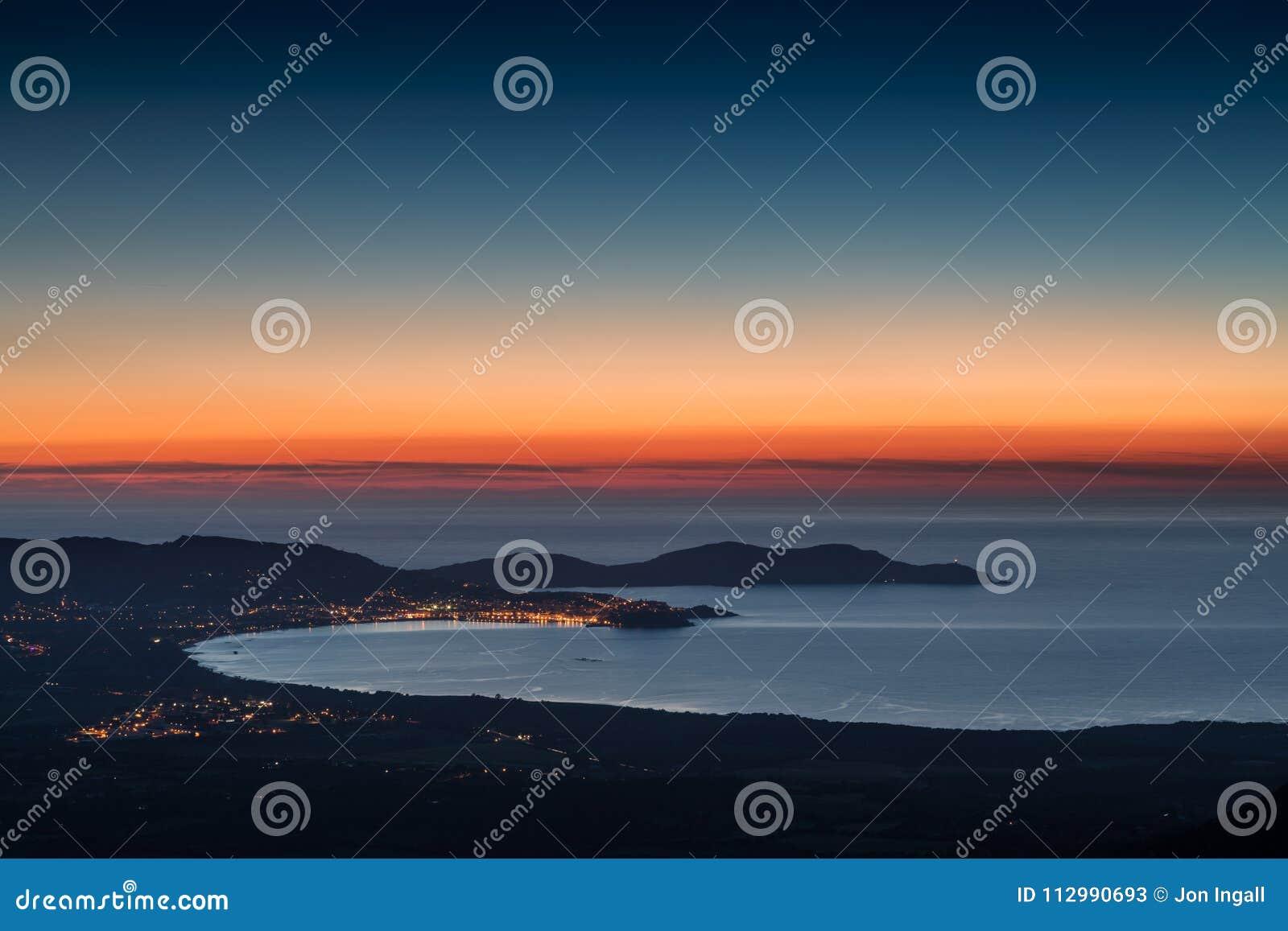 Sunset over Calvi Bay and Revellata in Corsica