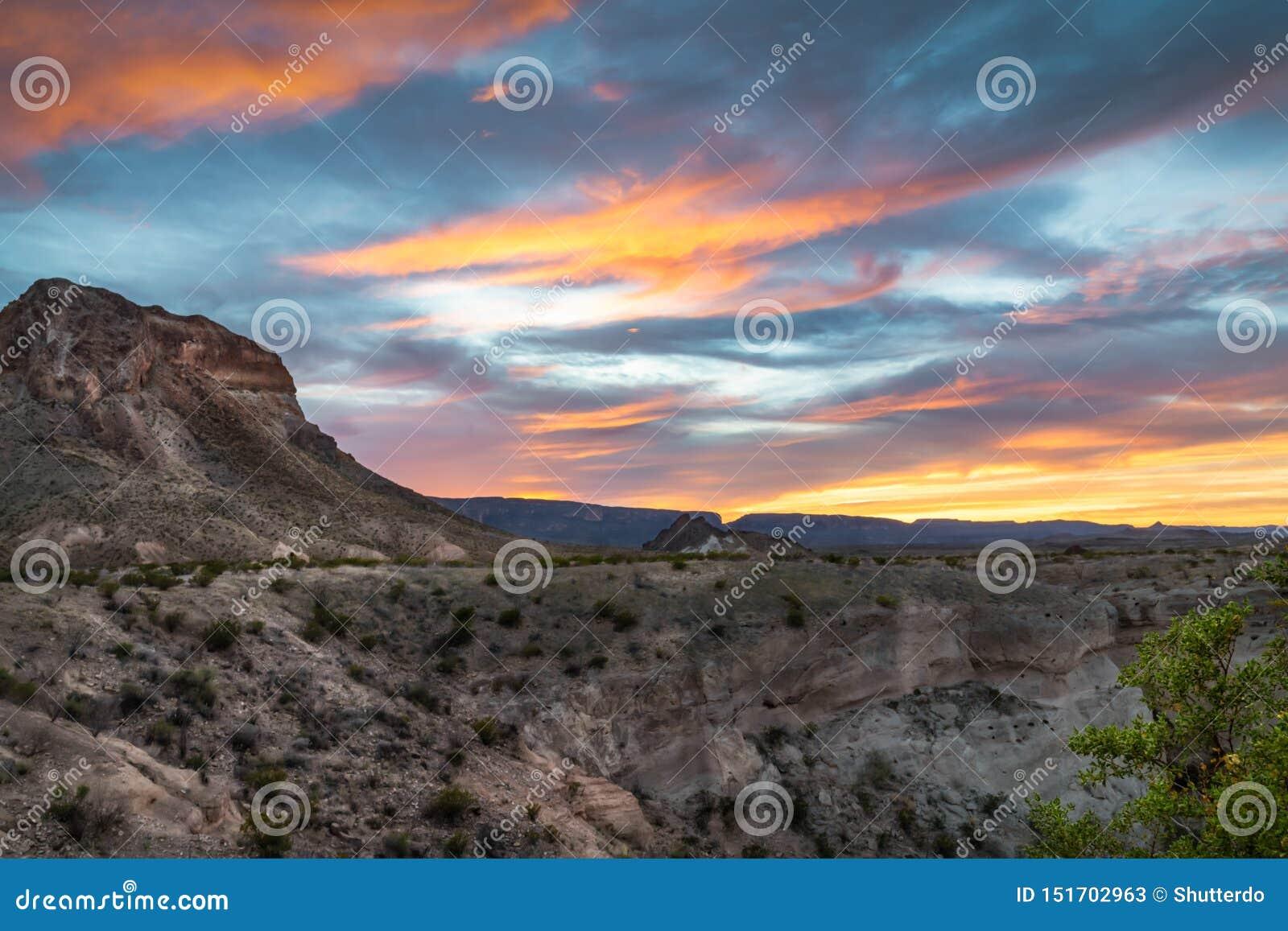 Sunset over Cerro Castellan butte in Big Bend National Park