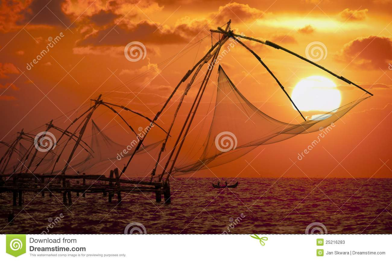 Download Sunset Over Chinese Fishing Nets In Cochin Stock Image - Image of crimson, colorful: 25216283