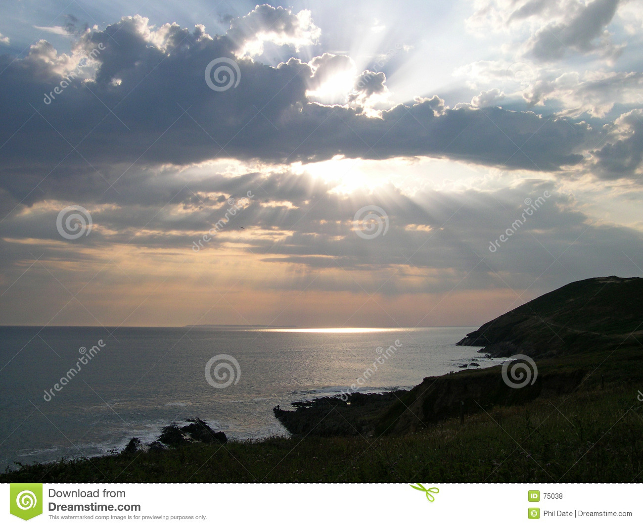 Download Sunset over Cliffs 2 stock photo. Image of croyde, cliffs - 75038