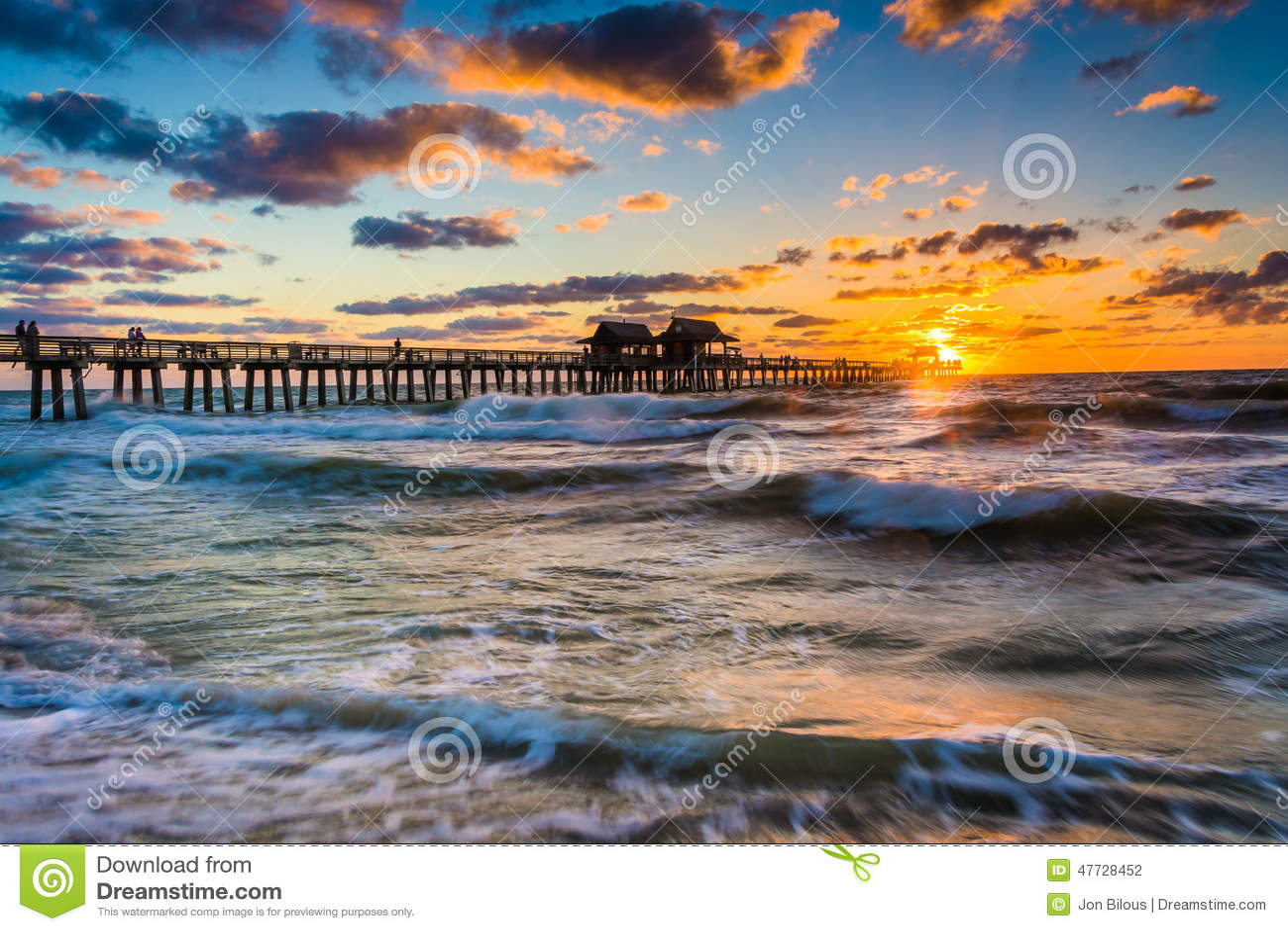 Stock Photo Sunset Over Fishing Pier Gulf Mexico Naples Flori Florida Image47728452 on Naples Florida Pier Sunset