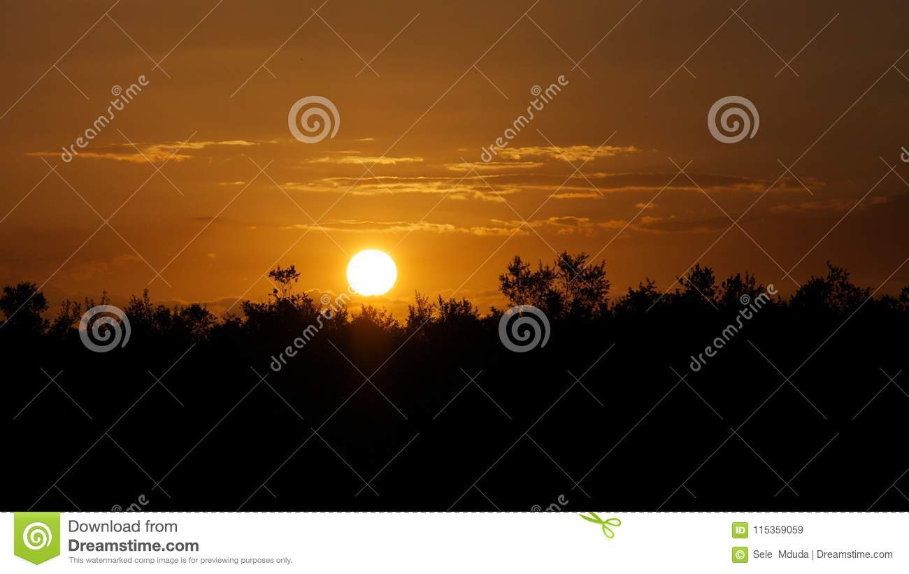 Sunset over the great Selous Game Reserve Tanzania
