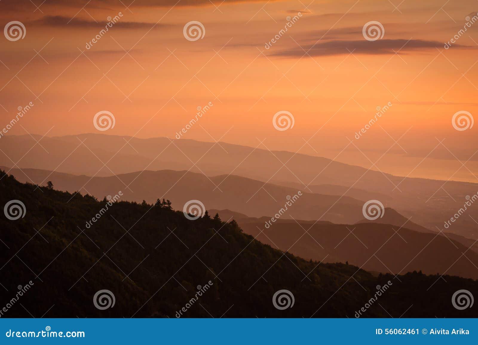 Sunset over Kartepe, Kocaeli, Turkey. Layers and atmosphere.