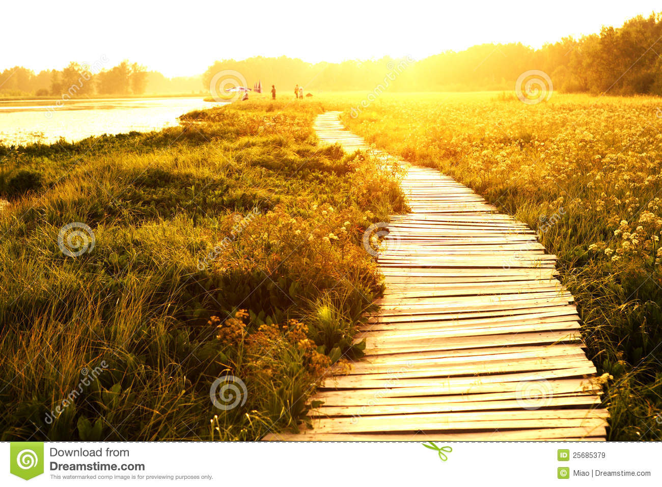 Download Sunset Over Lake And Walkway Stock Image - Image of recedes, beauty: 25685379