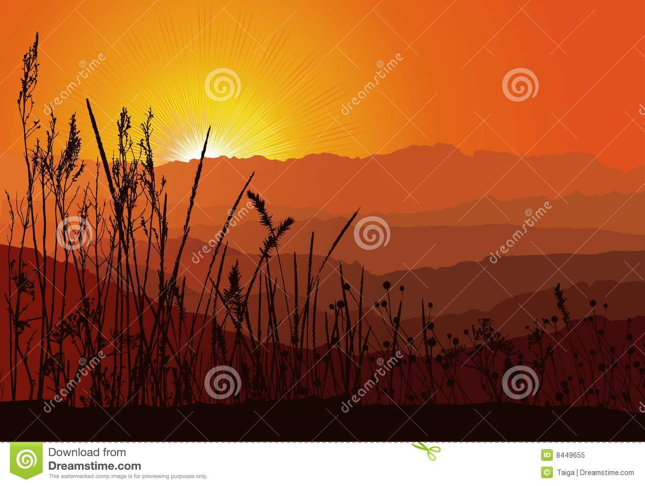 sunset over mountains with grass silhouette