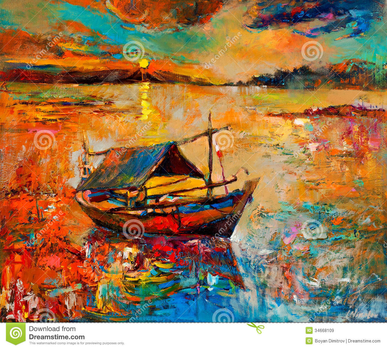 Original oil painting of boat and sea on canvas.Rich Golden Sunset ...