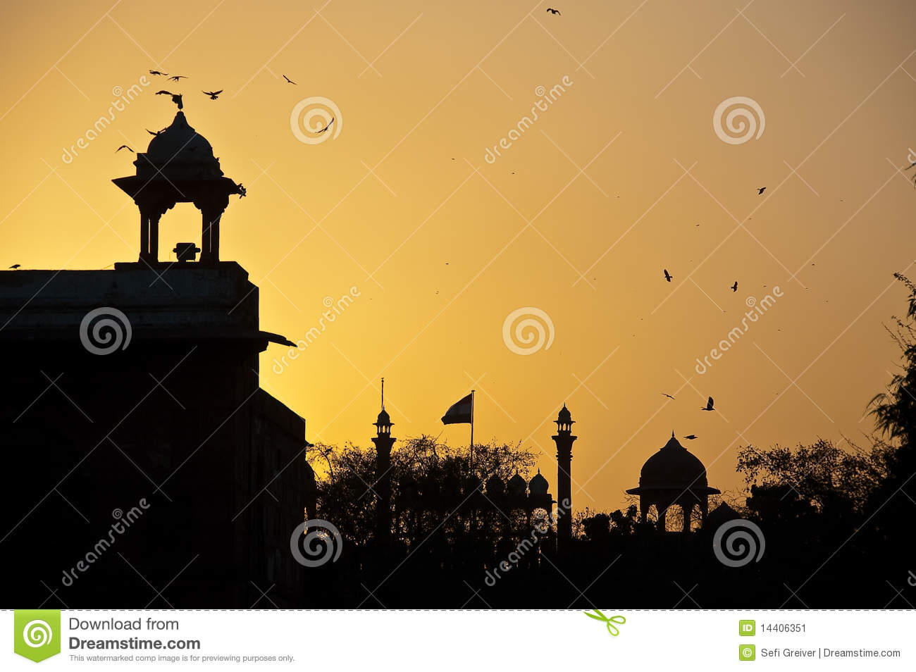Sunset Over Red Fort Of Delhi