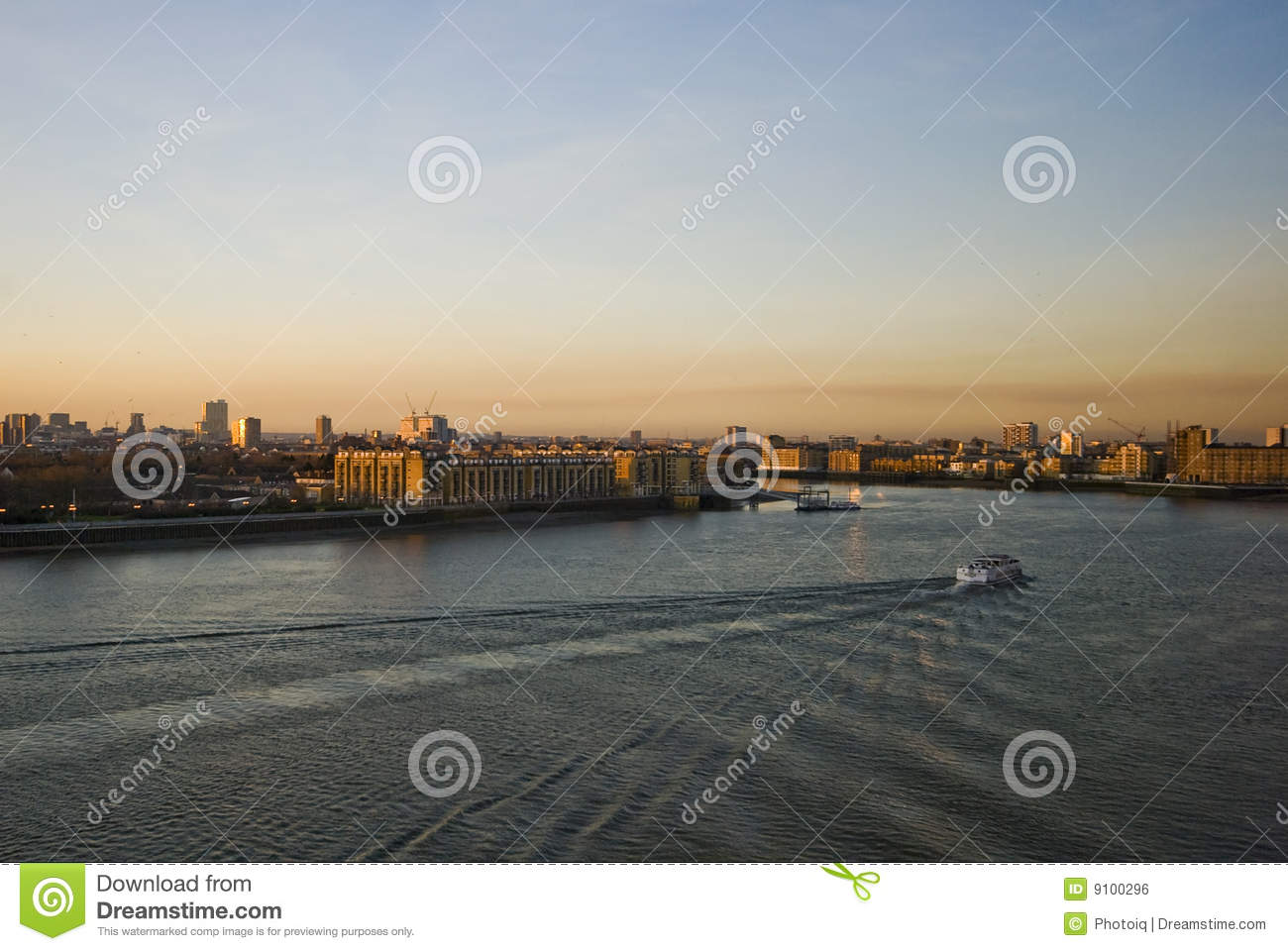 Sunset Over River Thames Royalty Free Stock Image - Image