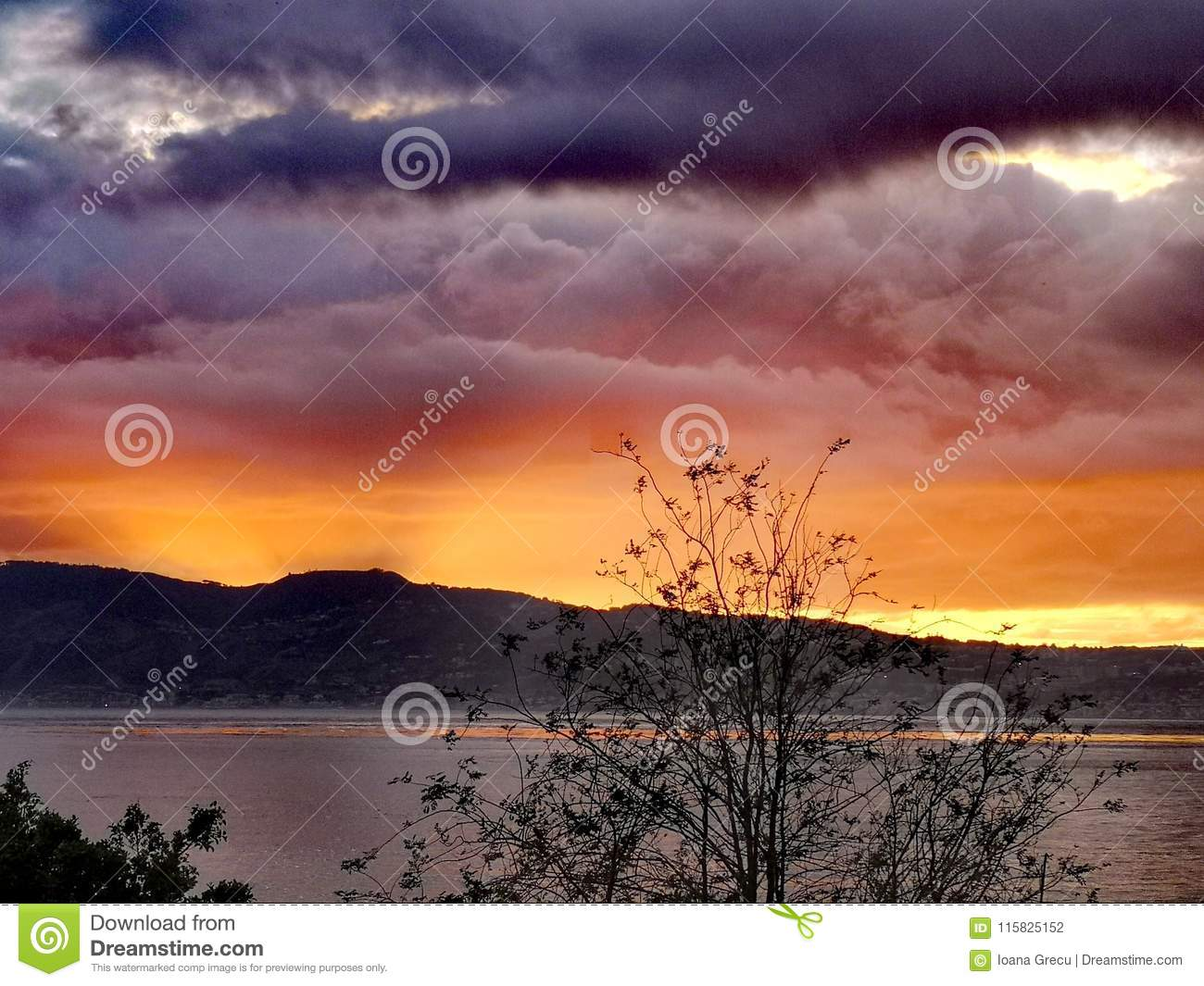 Sunset over the Strait of Messina