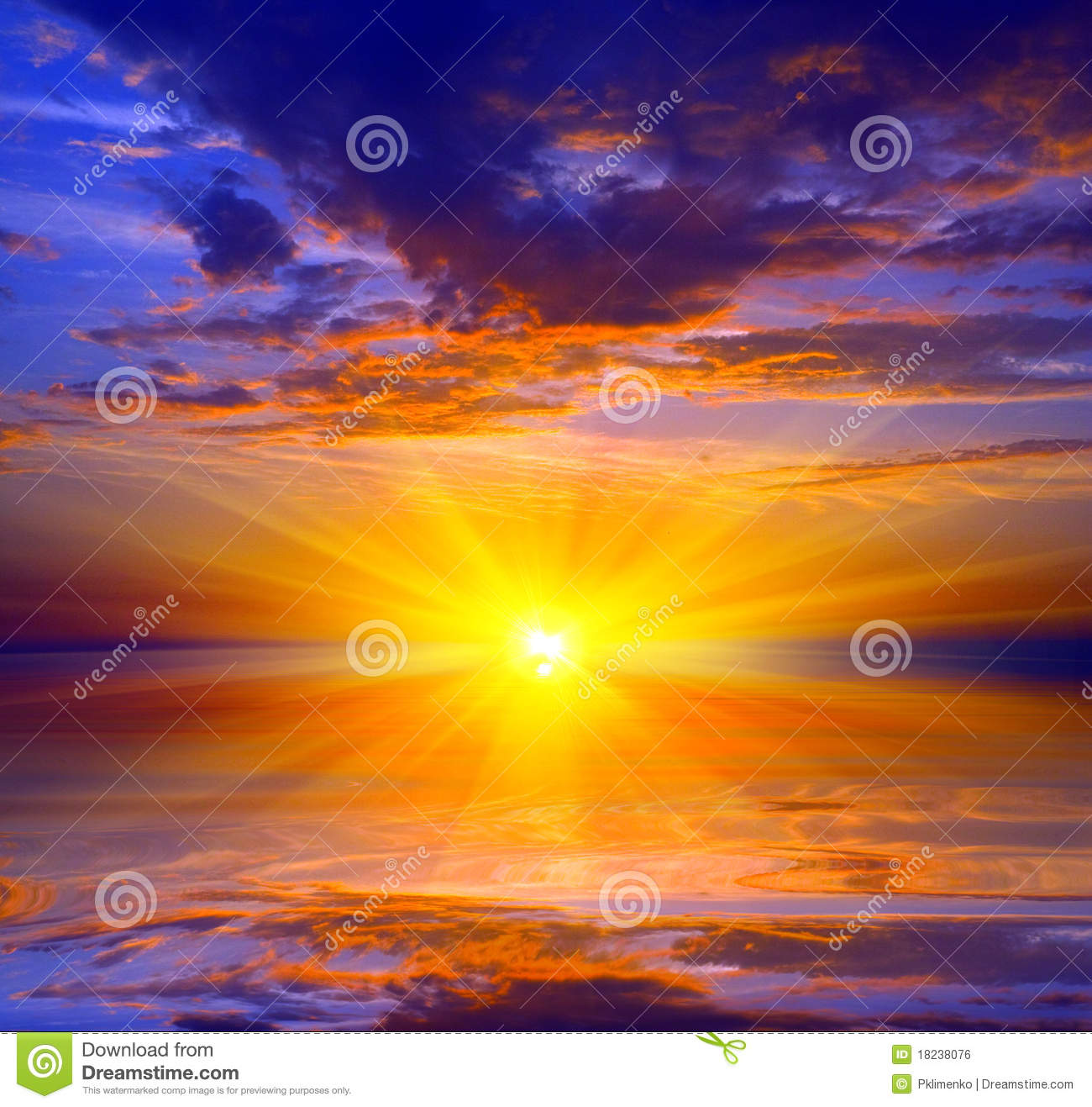 Sunset Over Water Surface Stock Photo Image Of Morning