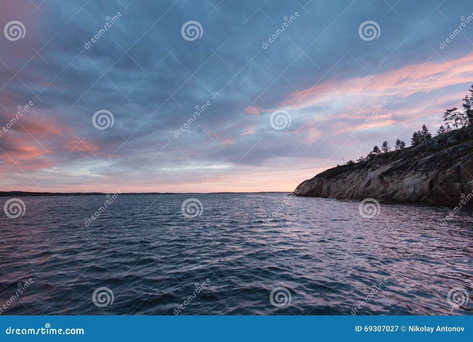 Sunset over White sea in Russia