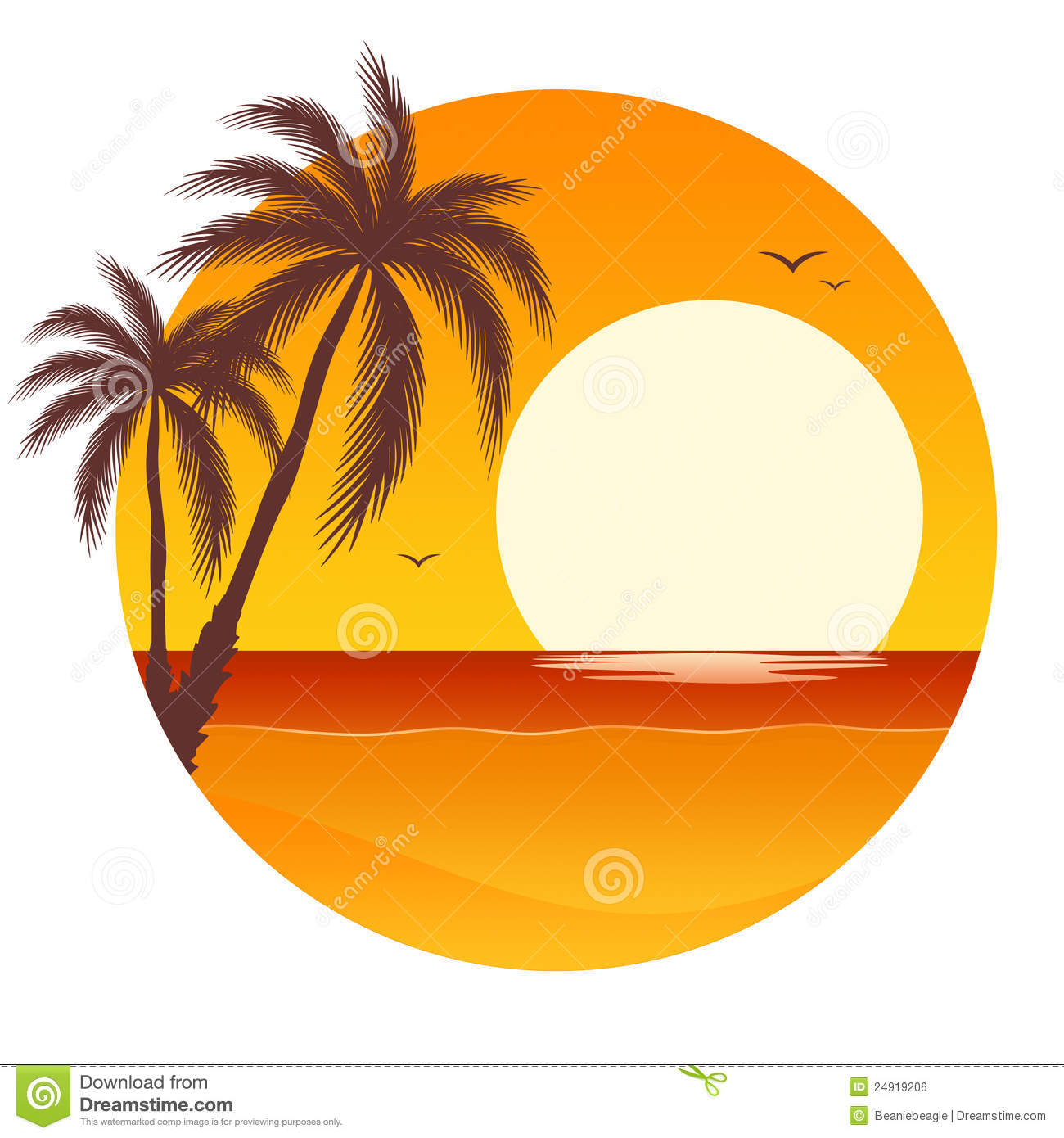 sunset with palm trees stock vector illustration of drawing 24919206 rh dreamstime com palm tree sunset clipart free Sunset Pictures Free