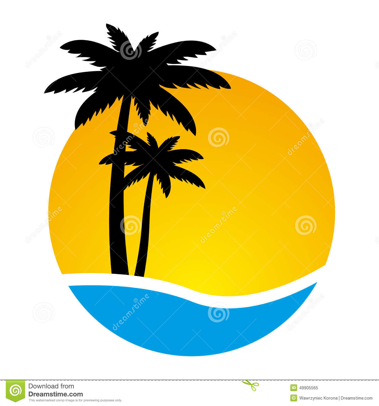 Palm Tree Island: Sunset And Palm Trees On Island, Stock Vector