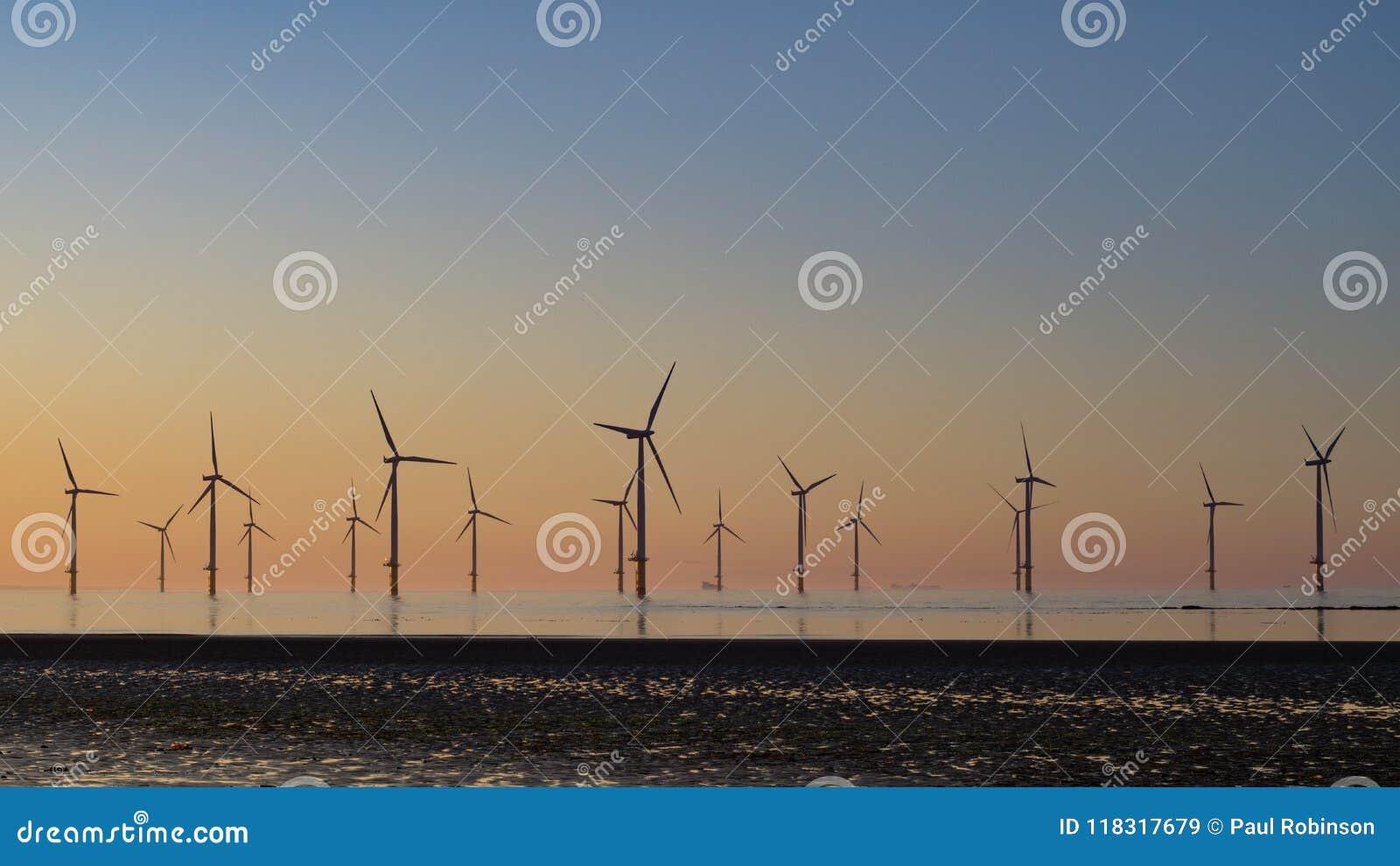 Sunset at Redcar windfarm.