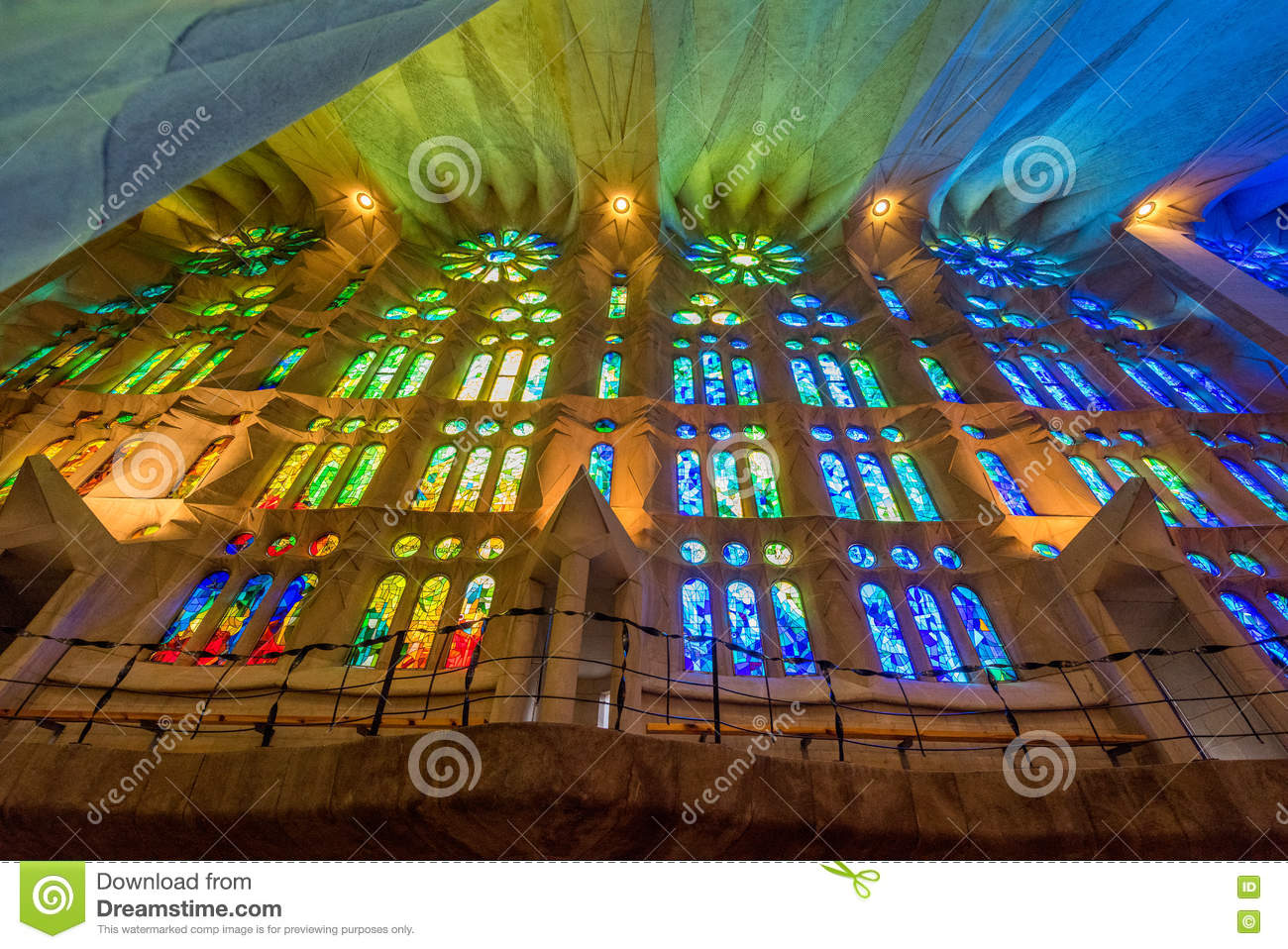 Sunset reflections on the stained glass of La Sagrada Familia church, Barcelona