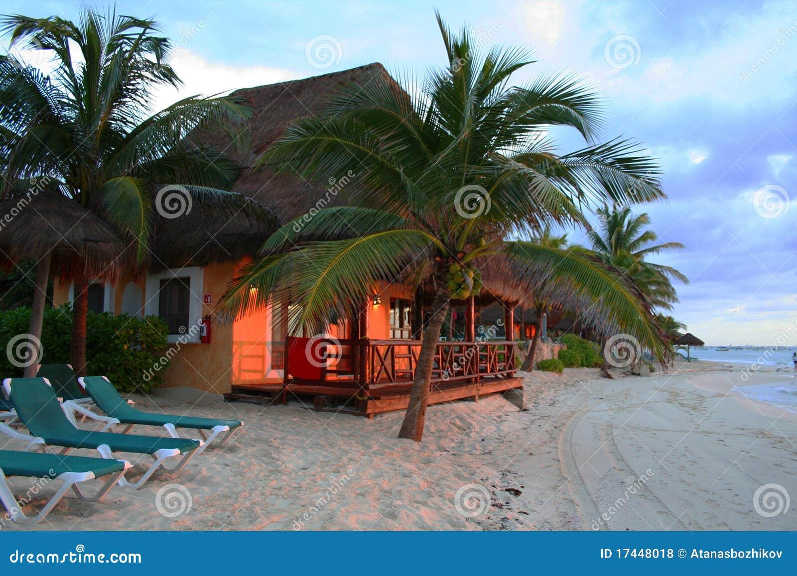 Sunset At Resort In Playa Del Carmen Mexico Stock Photo