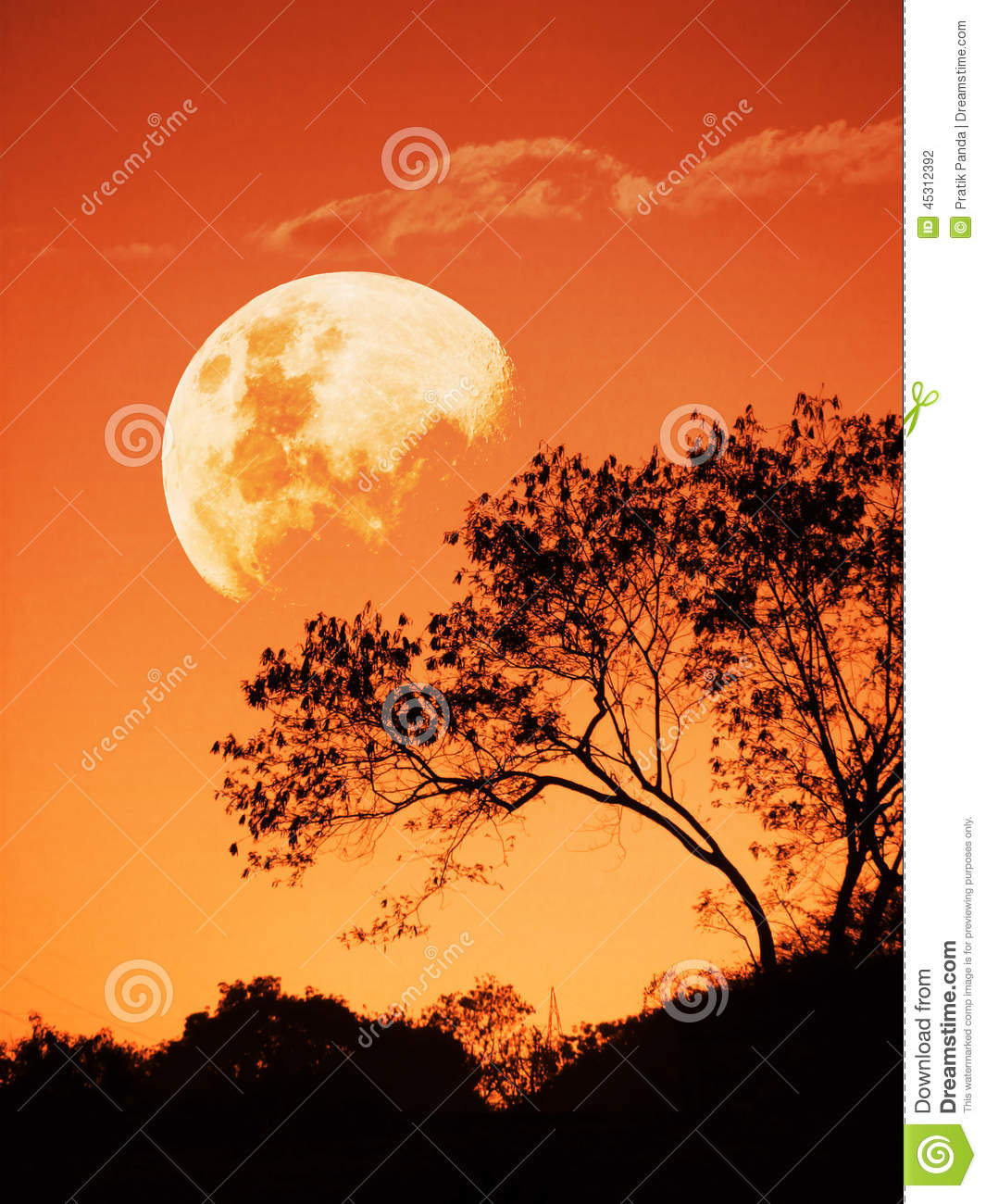 Sunset and the rising moon