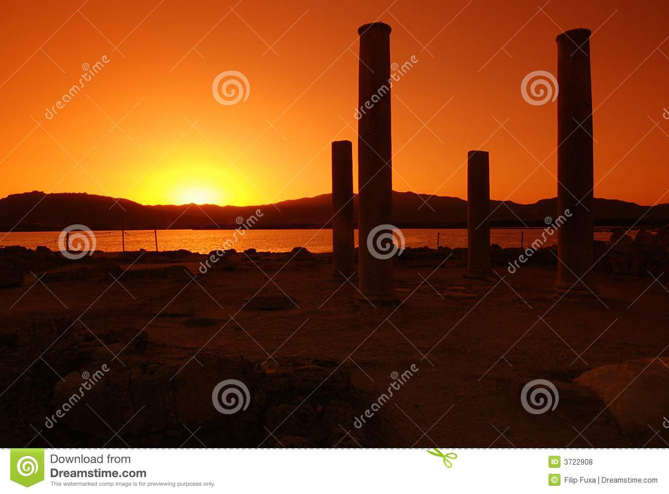 Sunset and ruins