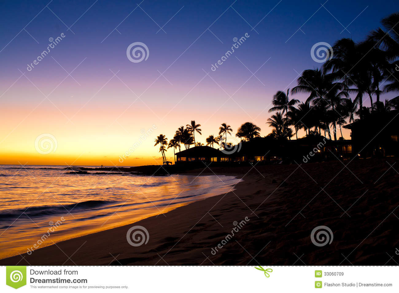 Sunset Scene At Tropical Beach Resort Royalty Free Stock