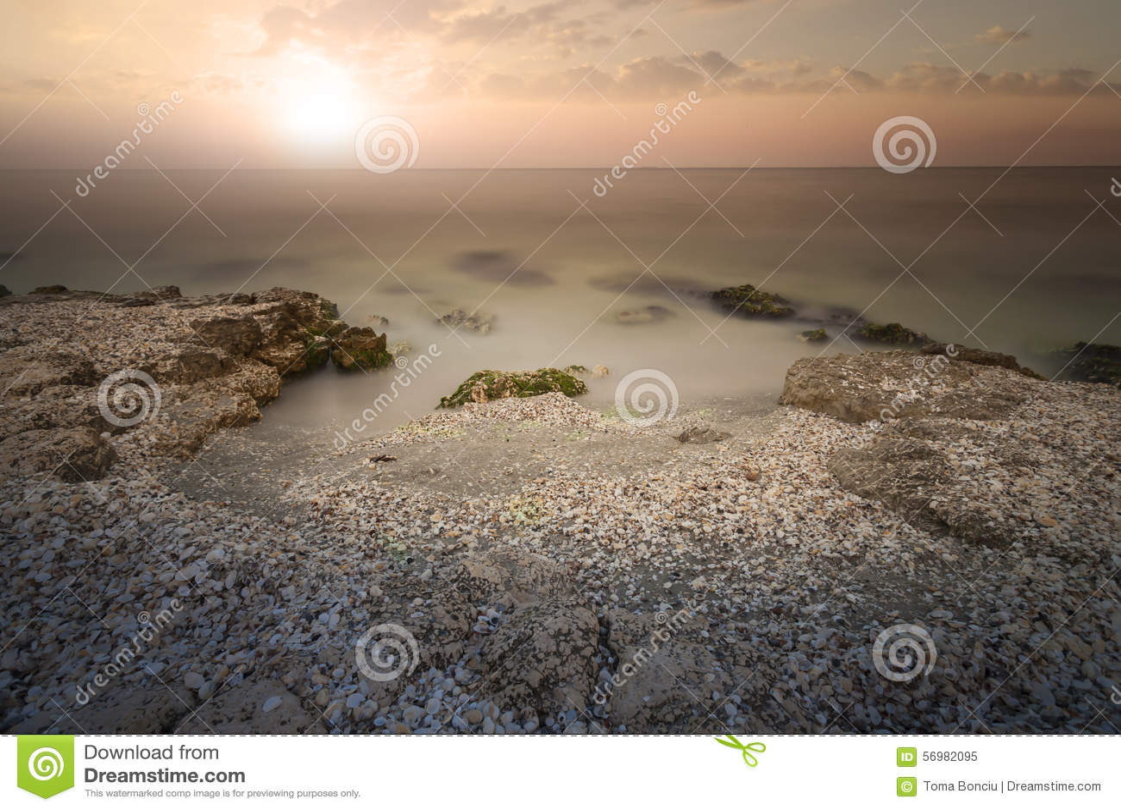 sunset on sea bright sun on sky stock image image 56982095. Black Bedroom Furniture Sets. Home Design Ideas